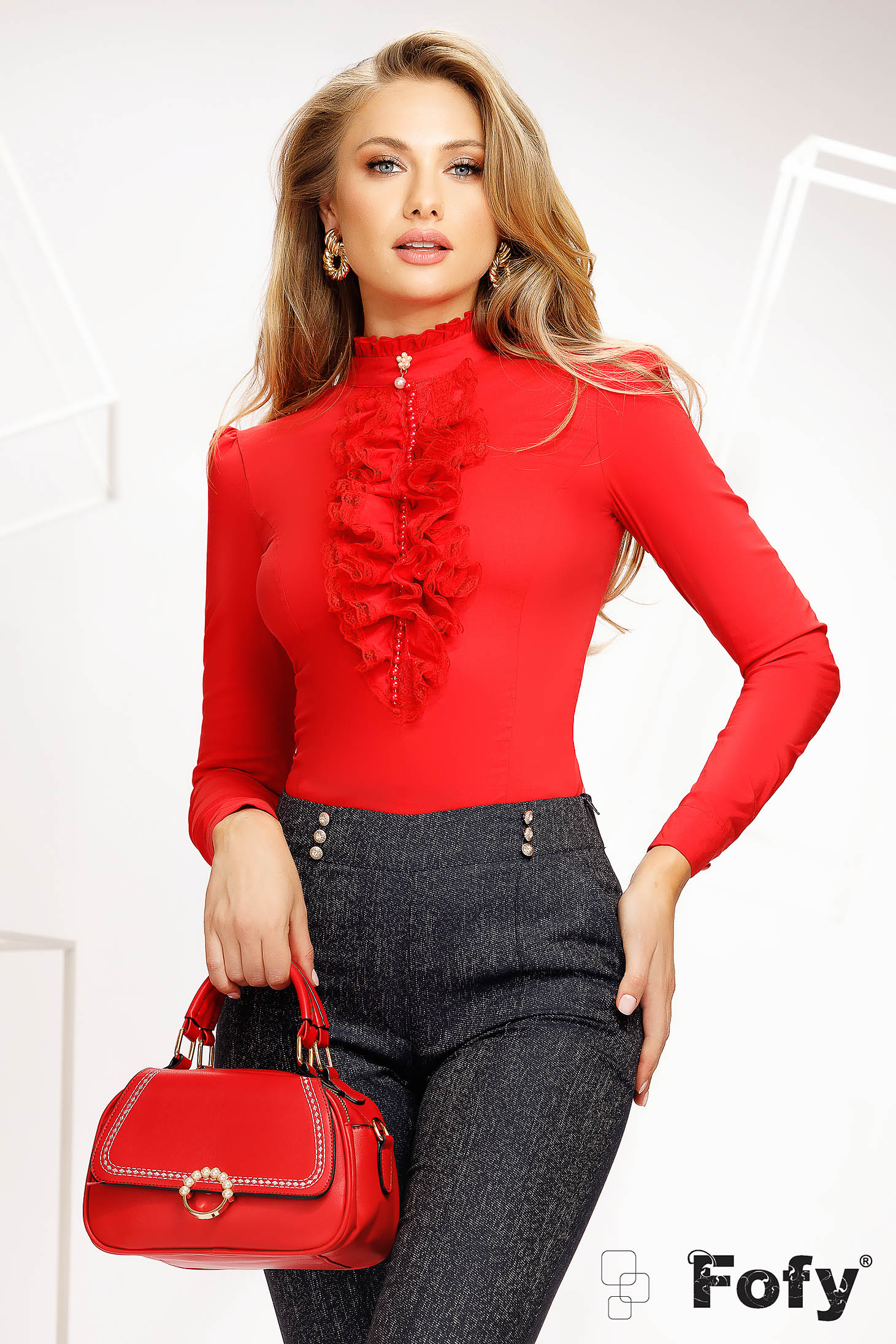 Red women`s blouse casual with pearls elastic cotton accessorized with breastpin