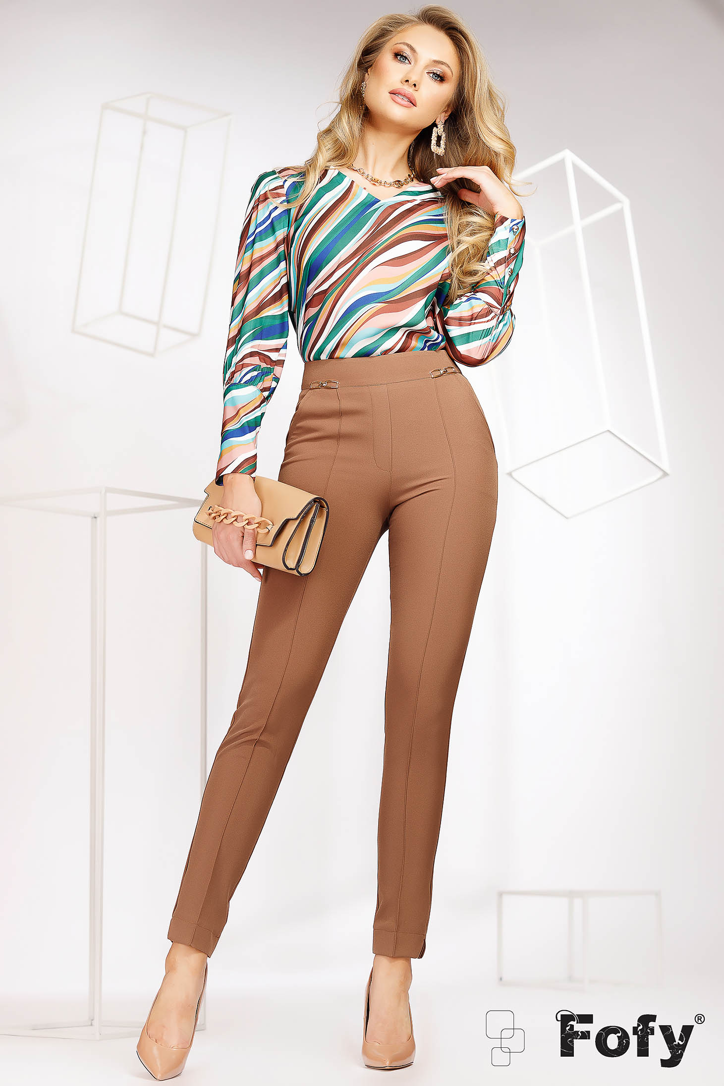 Brown trousers office conical medium waist thin fabric with metal accessories lateral pockets