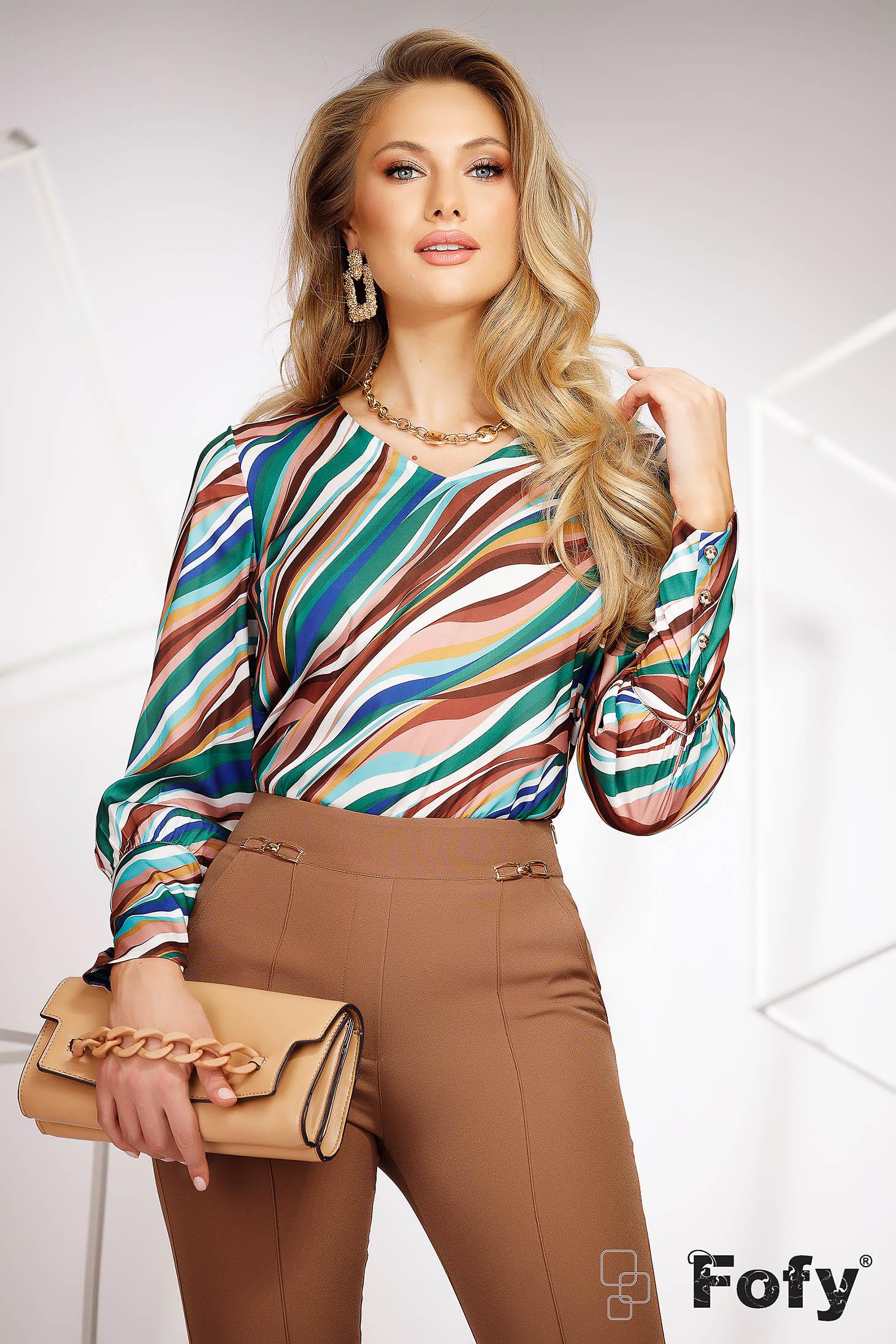 Bluza dama Fofy casual cu croi larg din material subtire si neelastic cu imprimeuri grafice