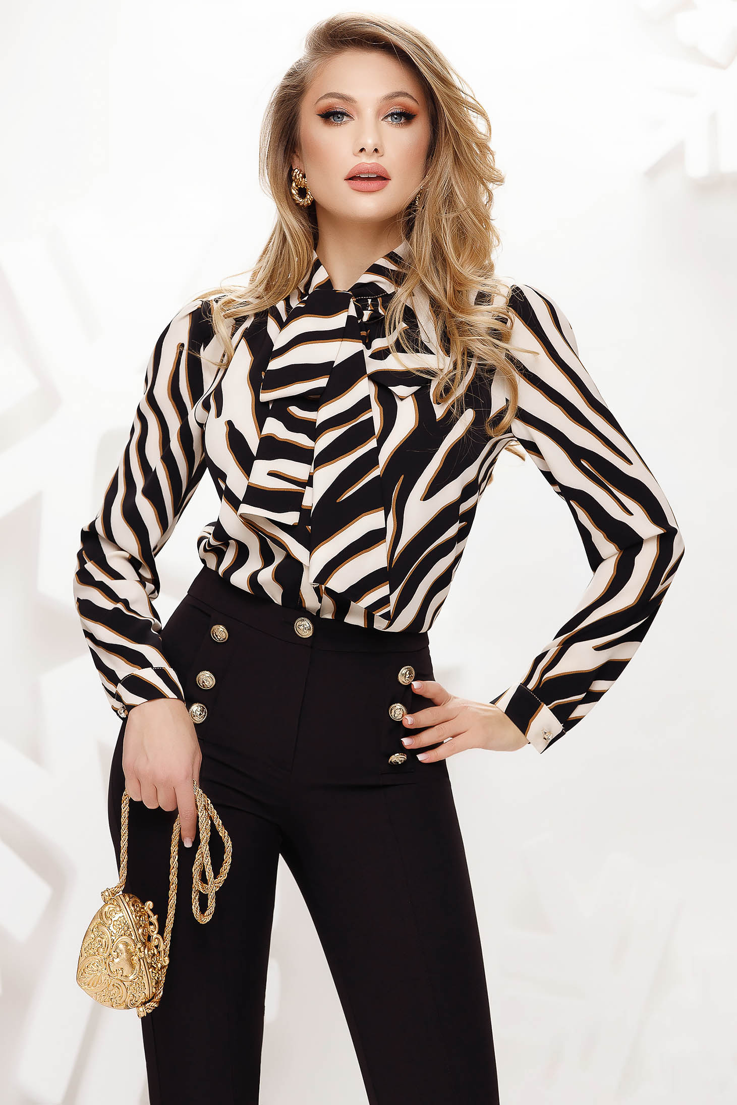 Women`s blouse thin fabric office nonelastic fabric long sleeve loose fit