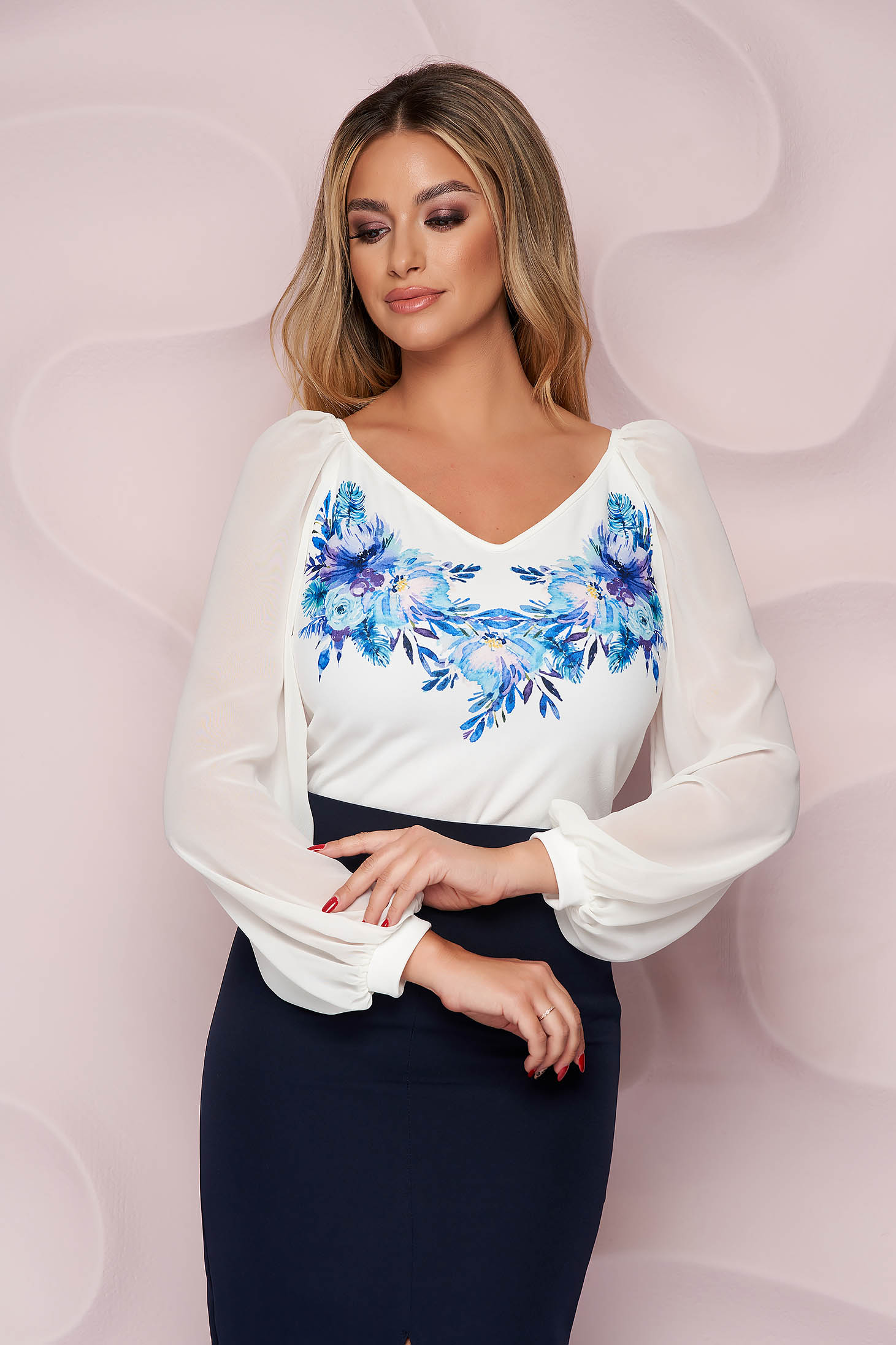 Bluza dama StarShinerS eleganta cu croi larg din material subtire cu maneci lungi si imprimeu floral unic