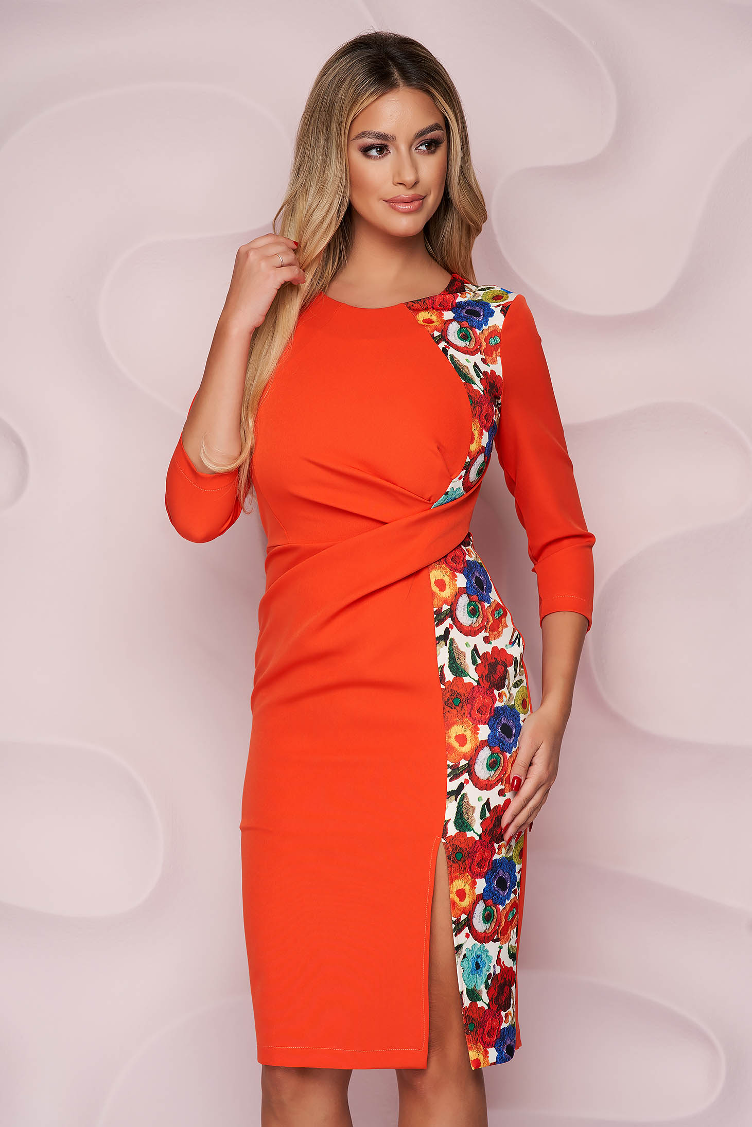StarShinerS dress office pencil midi nonelastic fabric with floral print light material