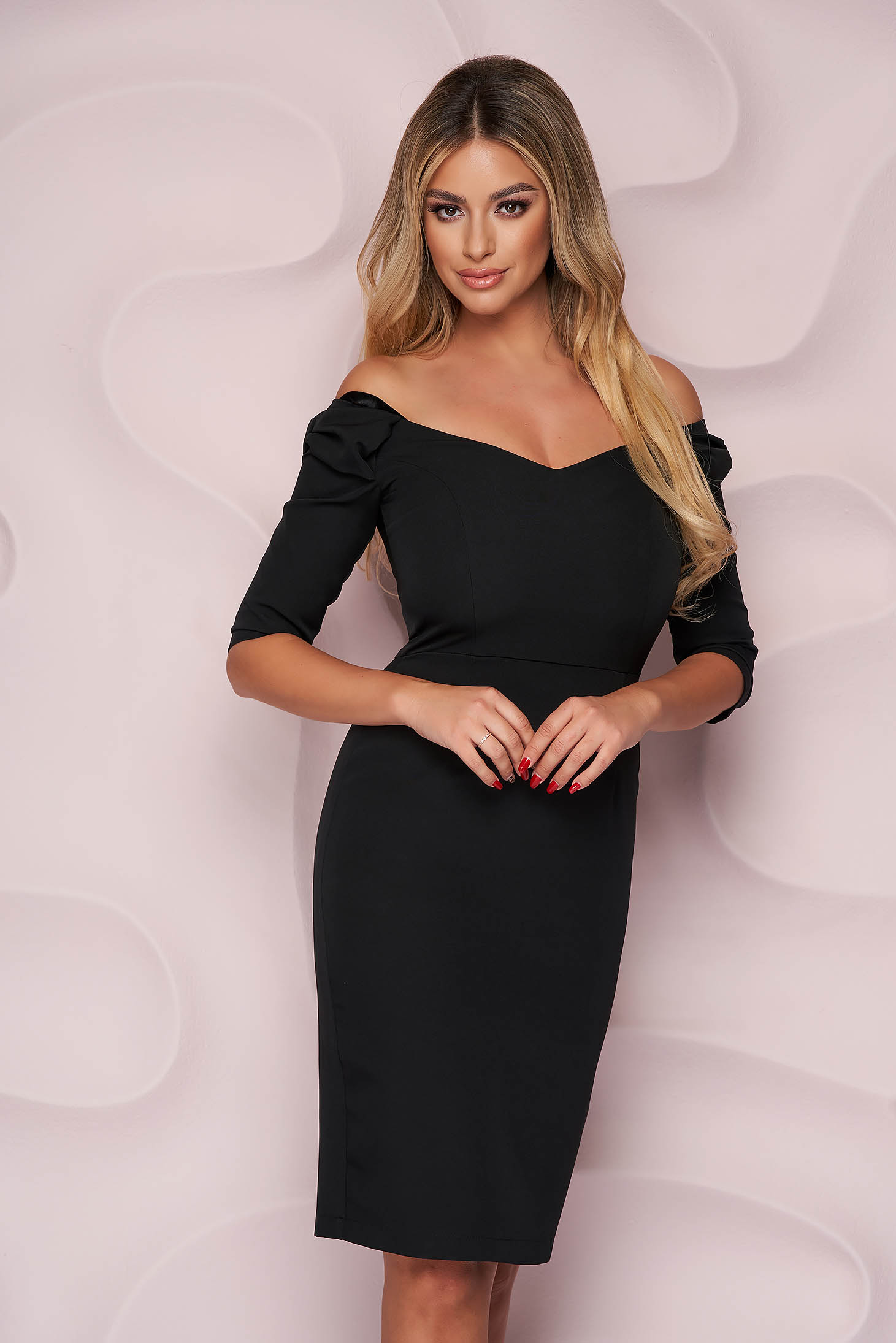 StarShinerS black dress pencil with v-neckline occasional midi with bow slightly elastic fabric