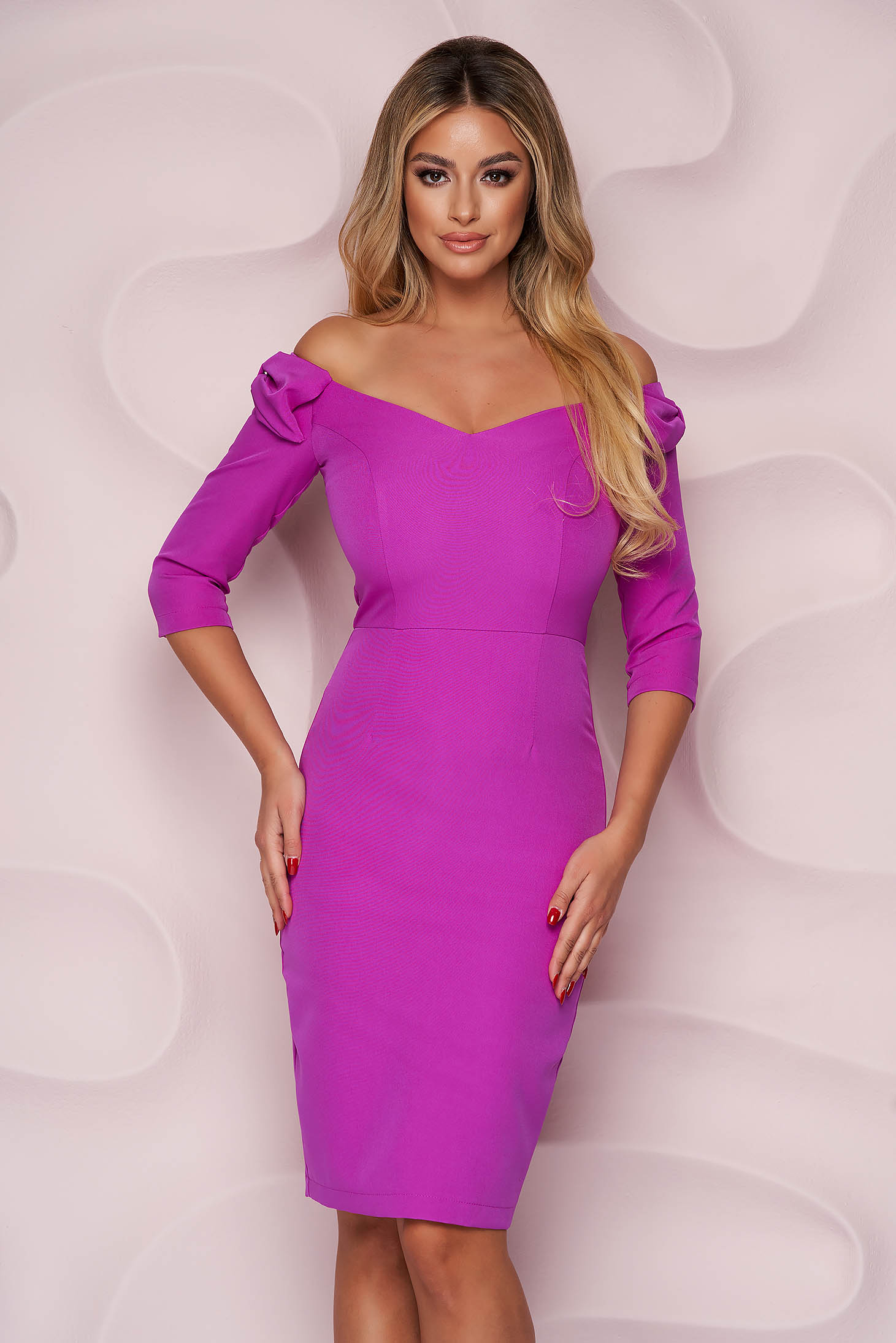 StarShinerS purple dress pencil with v-neckline occasional midi with bow slightly elastic fabric