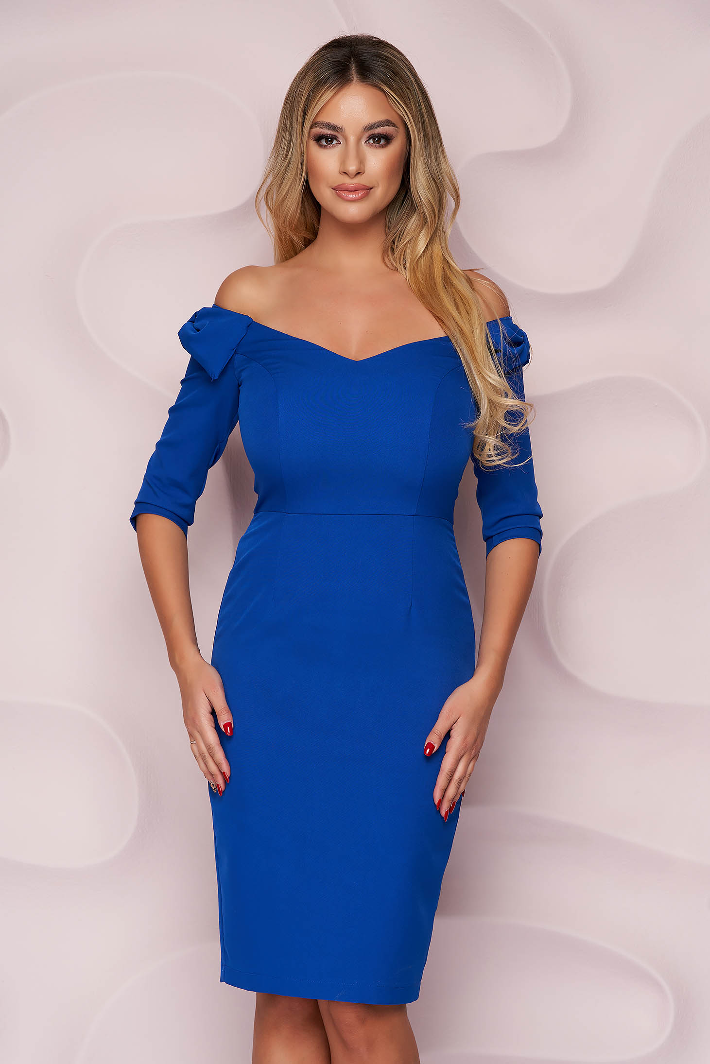 StarShinerS blue dress pencil with v-neckline occasional midi with bow slightly elastic fabric
