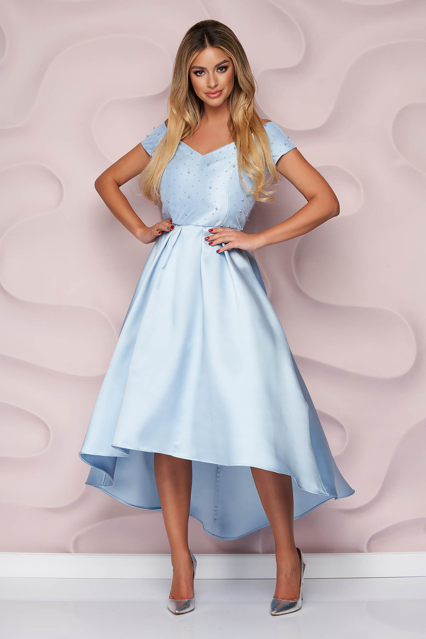 StarShinerS lightblue dress occasional cloche asymmetrical thick fabric strass with pearls