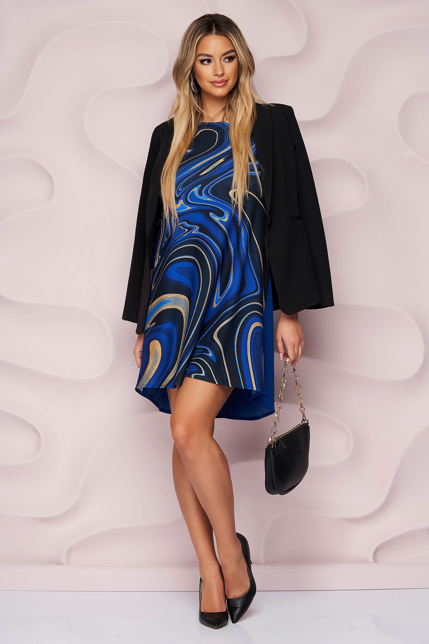 StarShinerS dress with graphic details light material from elastic fabric office loose fit short cut