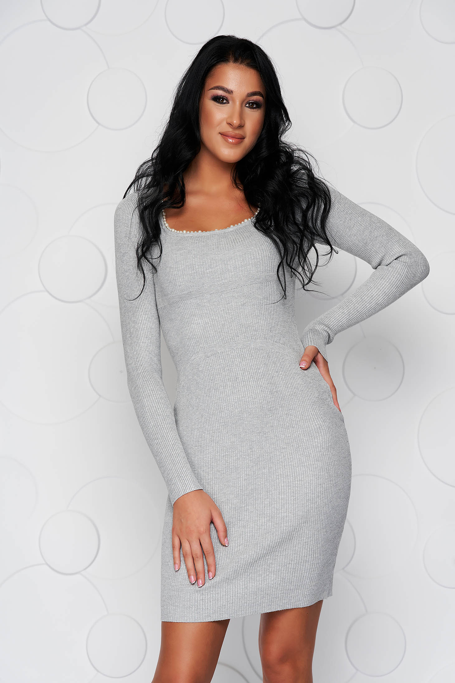 Grey dress with pearls from elastic fabric knitted fabric midi with tented cut