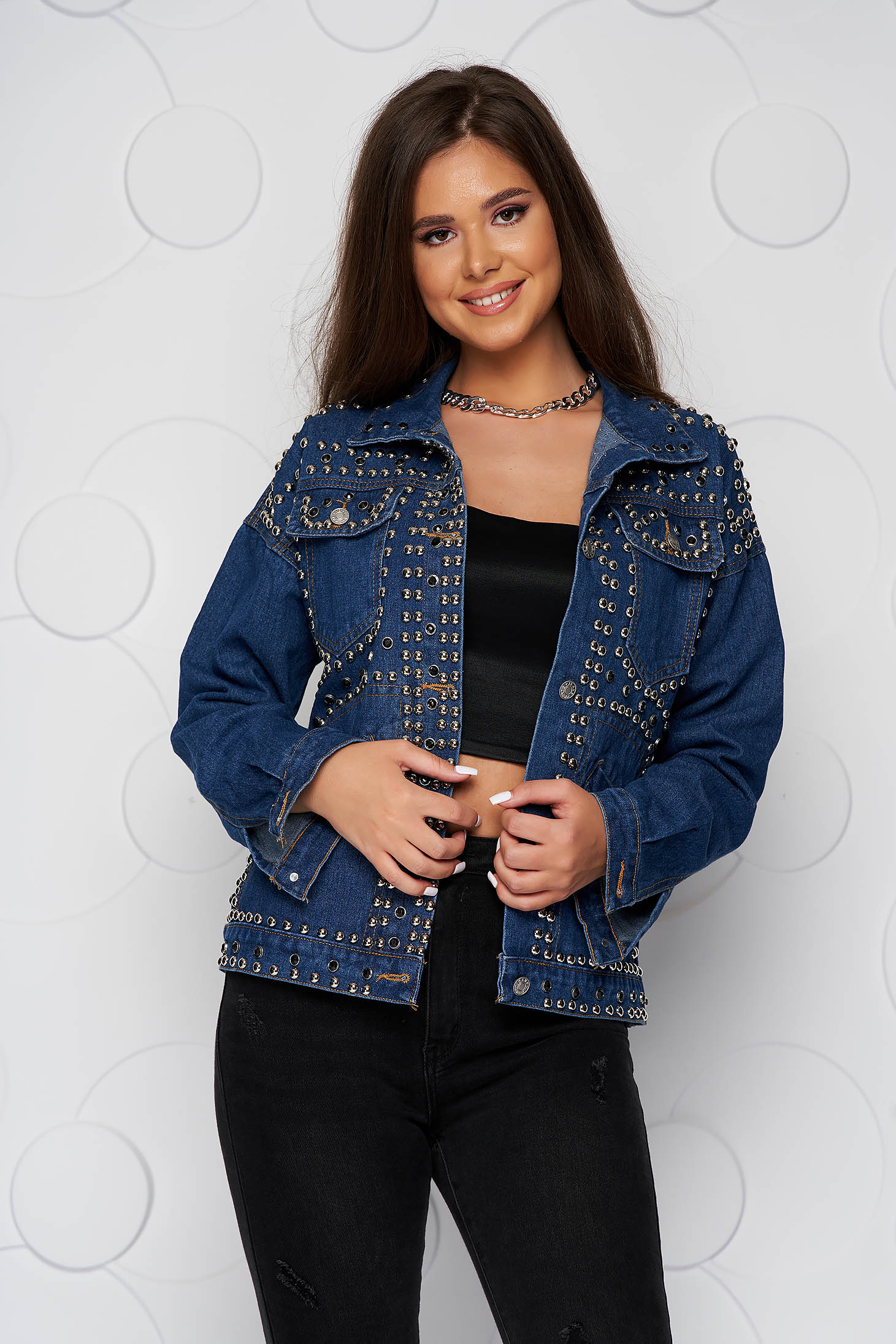 Blue jacket denim short cut casual with front pockets with metallic spikes