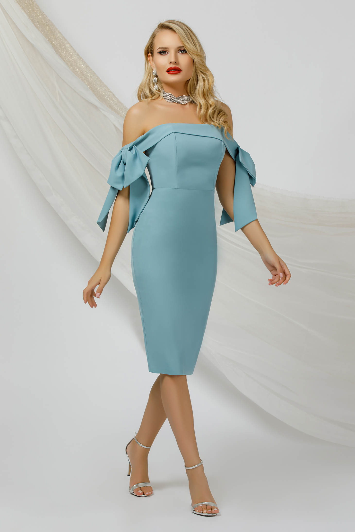 Mint dress pencil thin fabric occasional naked shoulders with bow accessories