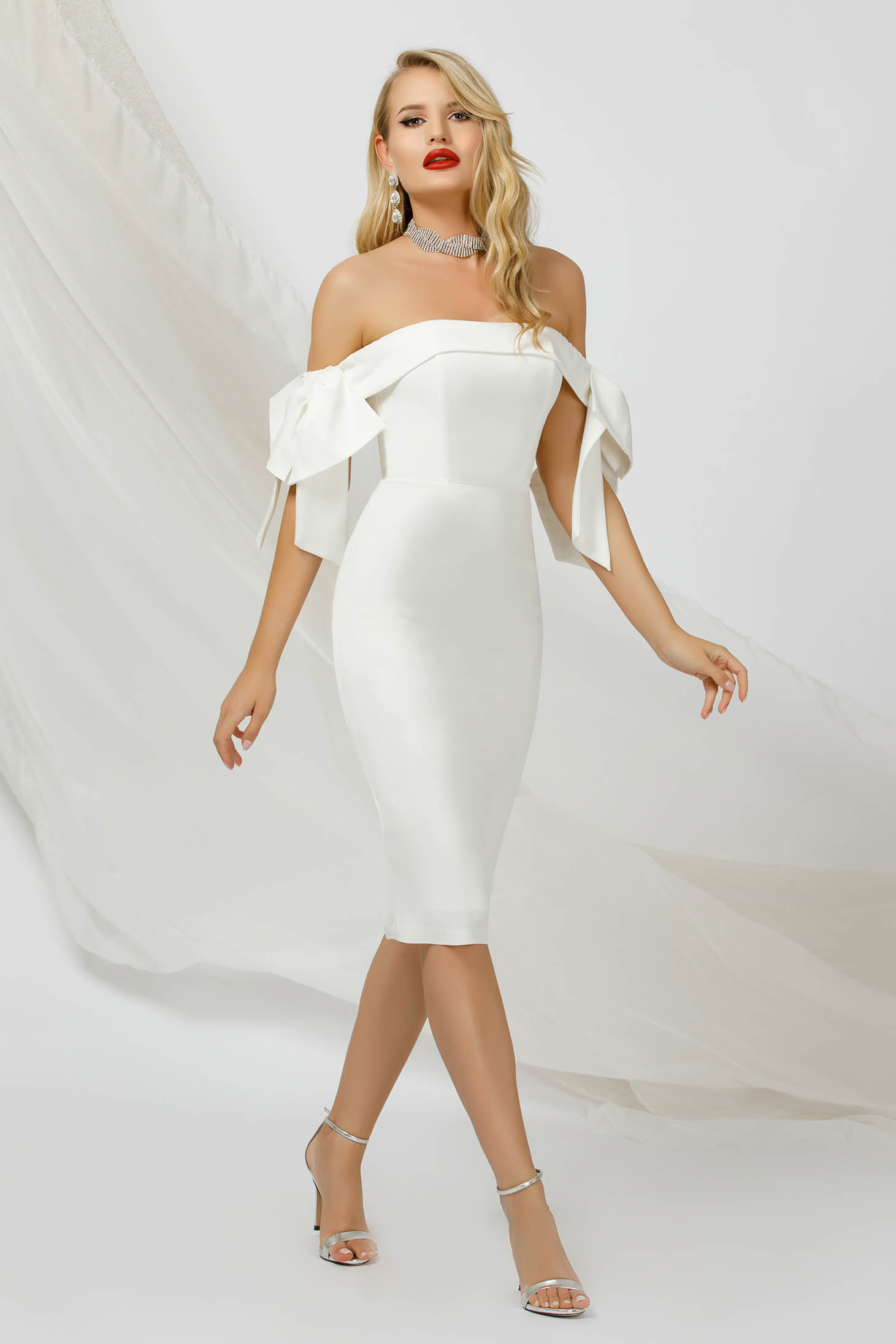 Ivory dress pencil thin fabric occasional naked shoulders with bow accessories