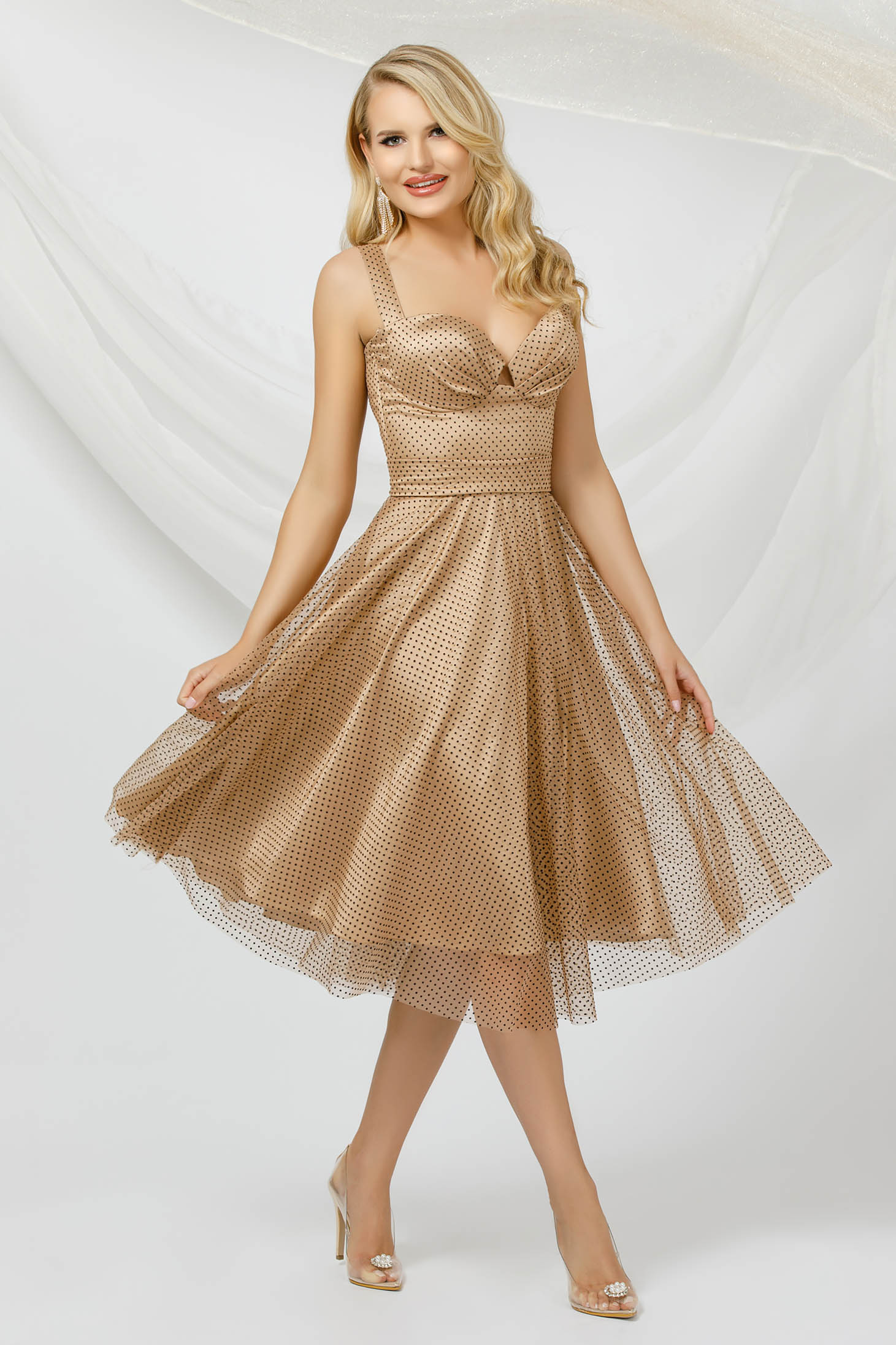 Brown dress occasional cloche midi from tulle dots print detachable cord with push-up cups