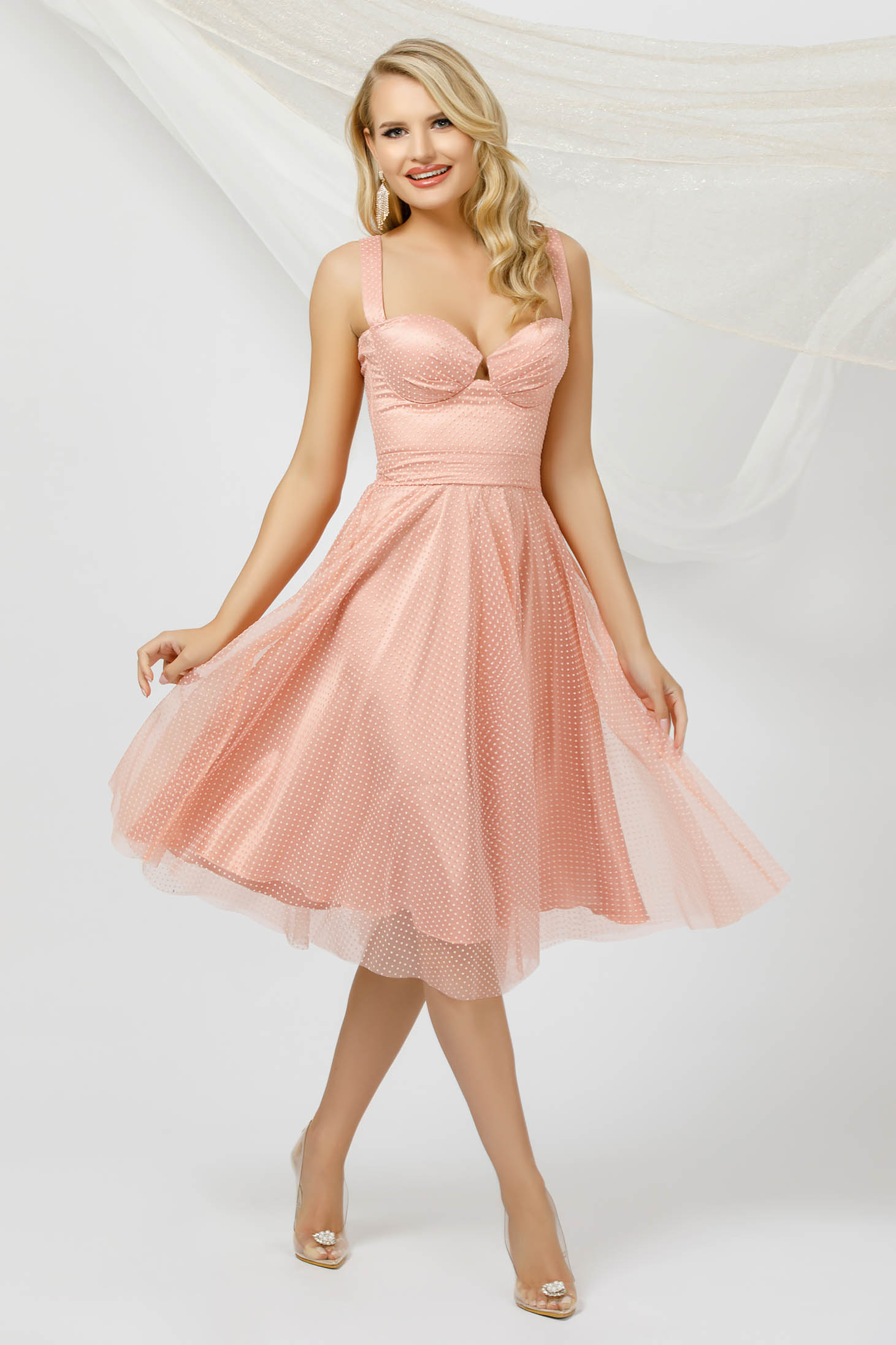 Lightpink dress occasional cloche midi from tulle dots print detachable cord with push-up cups
