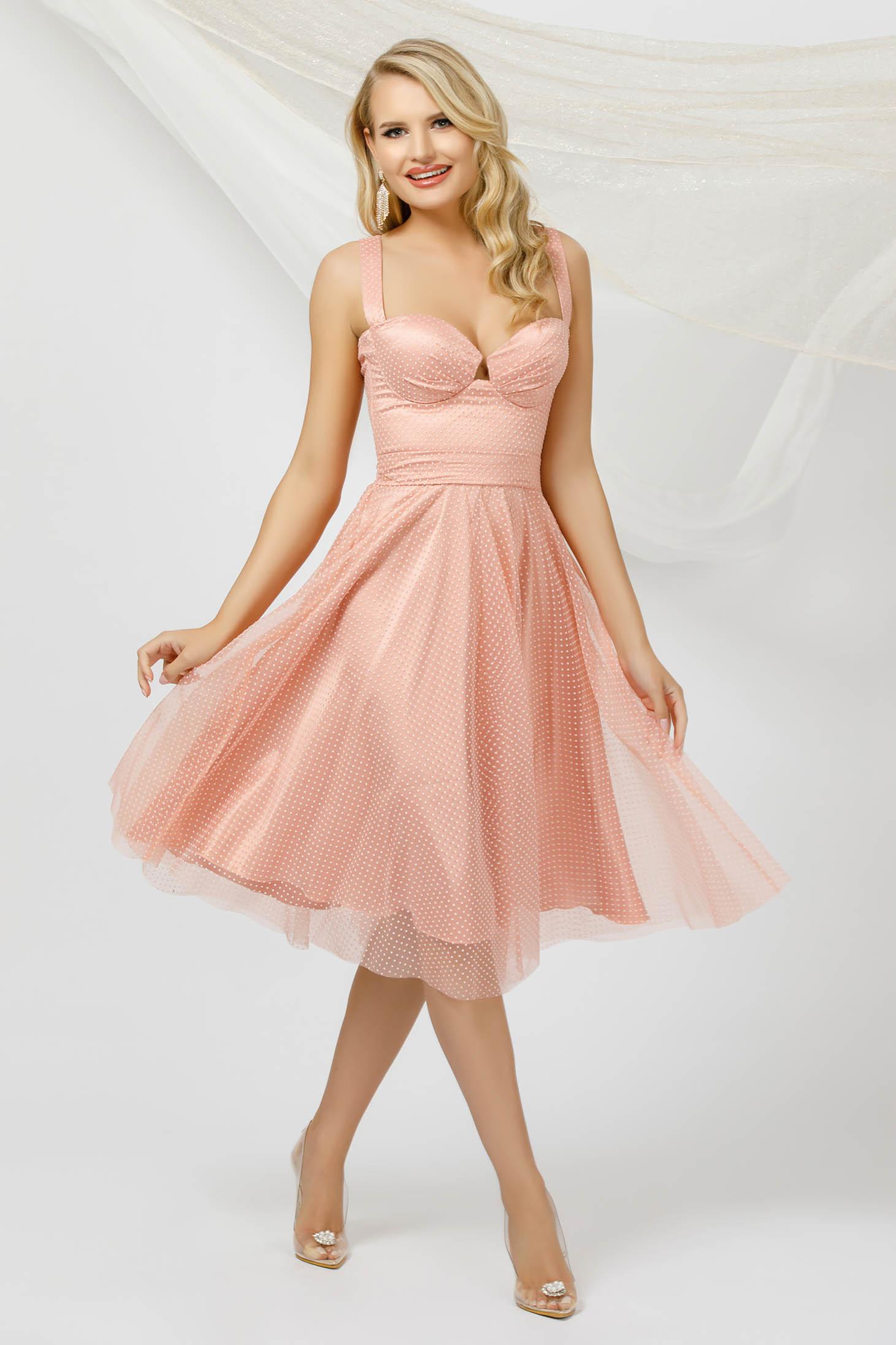 Világos rózsaszínű alkalmi harang midi ruha tüllből pöttyös eltávolítható övvel szivacsos mellrésszel