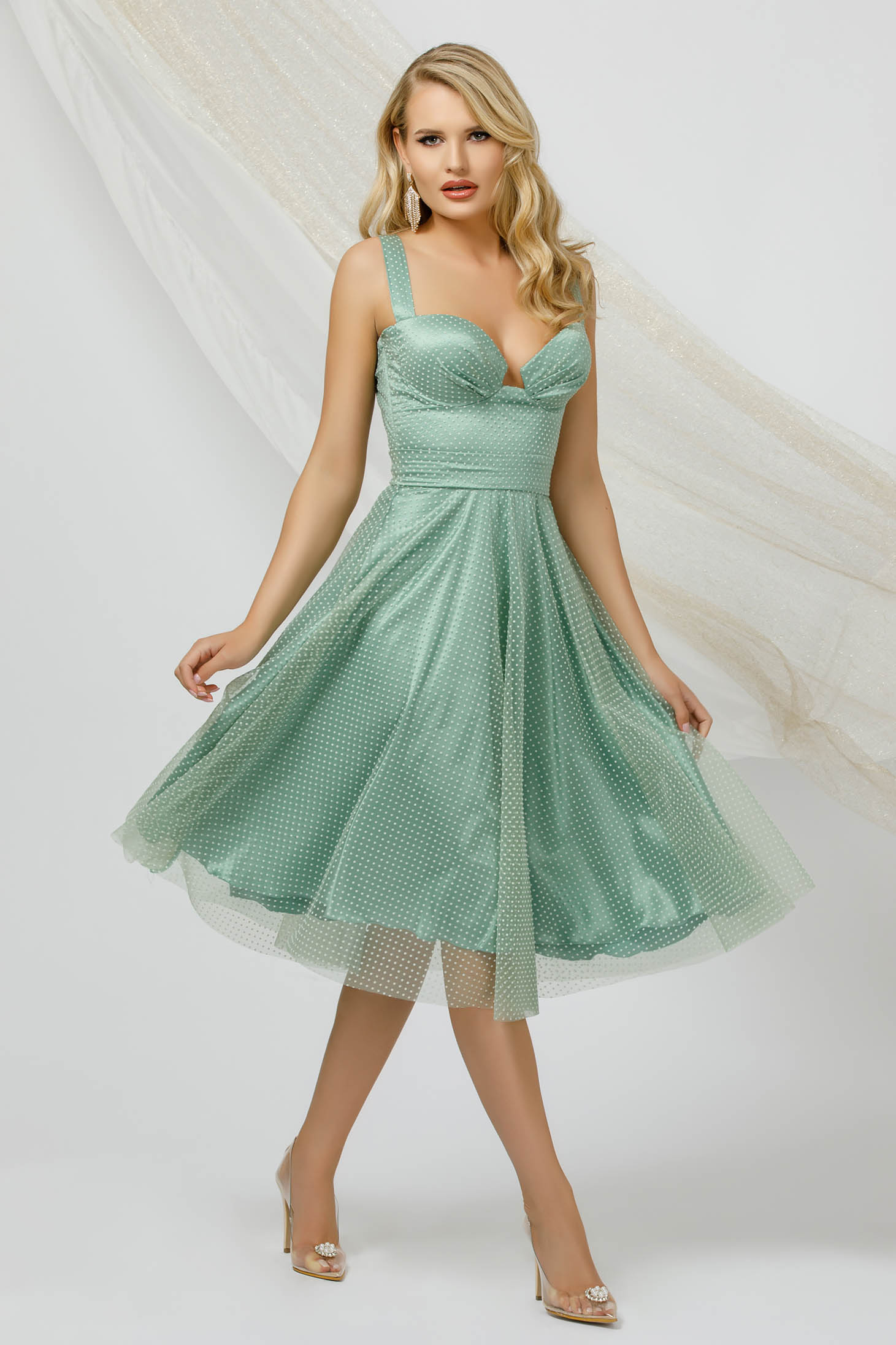 Mint dress occasional cloche midi from tulle dots print detachable cord with push-up cups