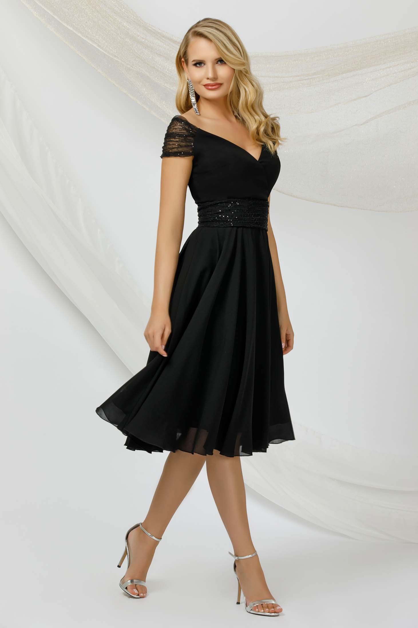 Black dress occasional thin fabric from veil fabric with sequin embellished details midi