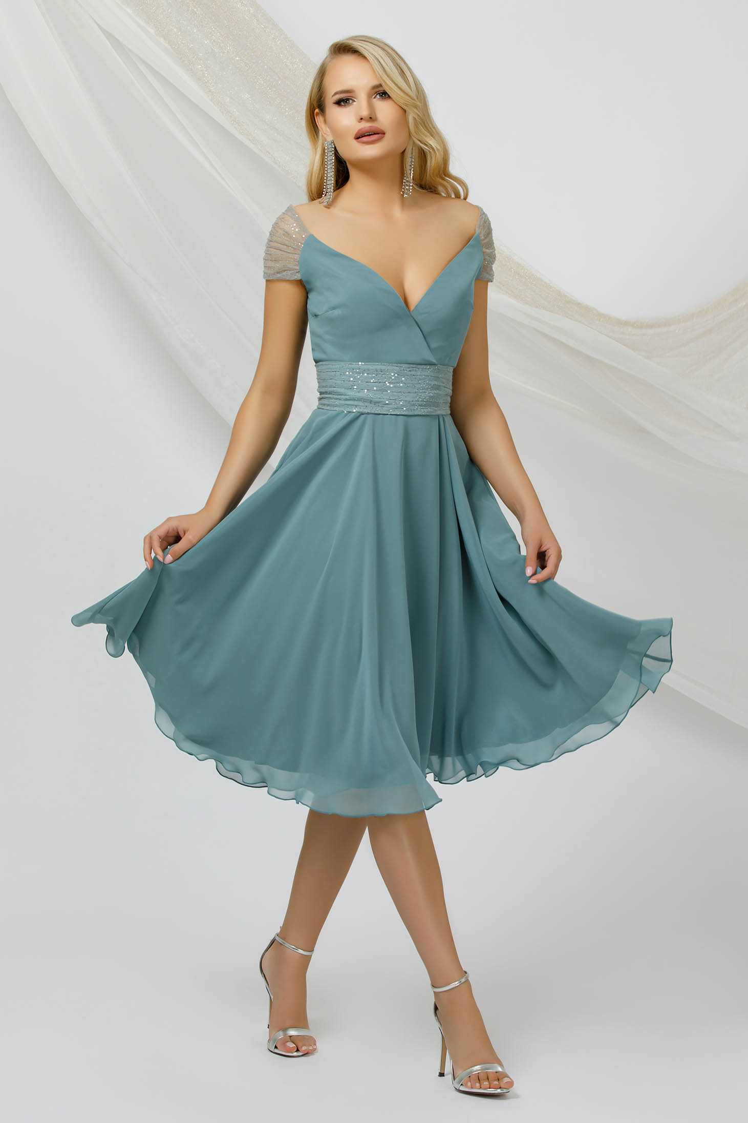 Mint dress occasional thin fabric from veil fabric with sequin embellished details midi