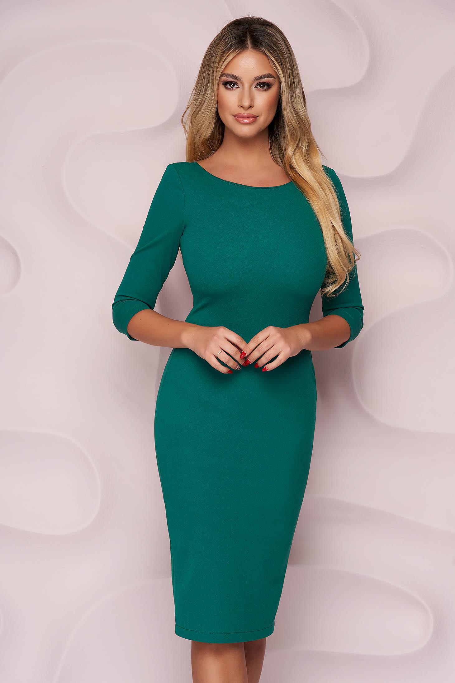 Dress elegant midi StarShinerS green pencil bare back from elastic fabric