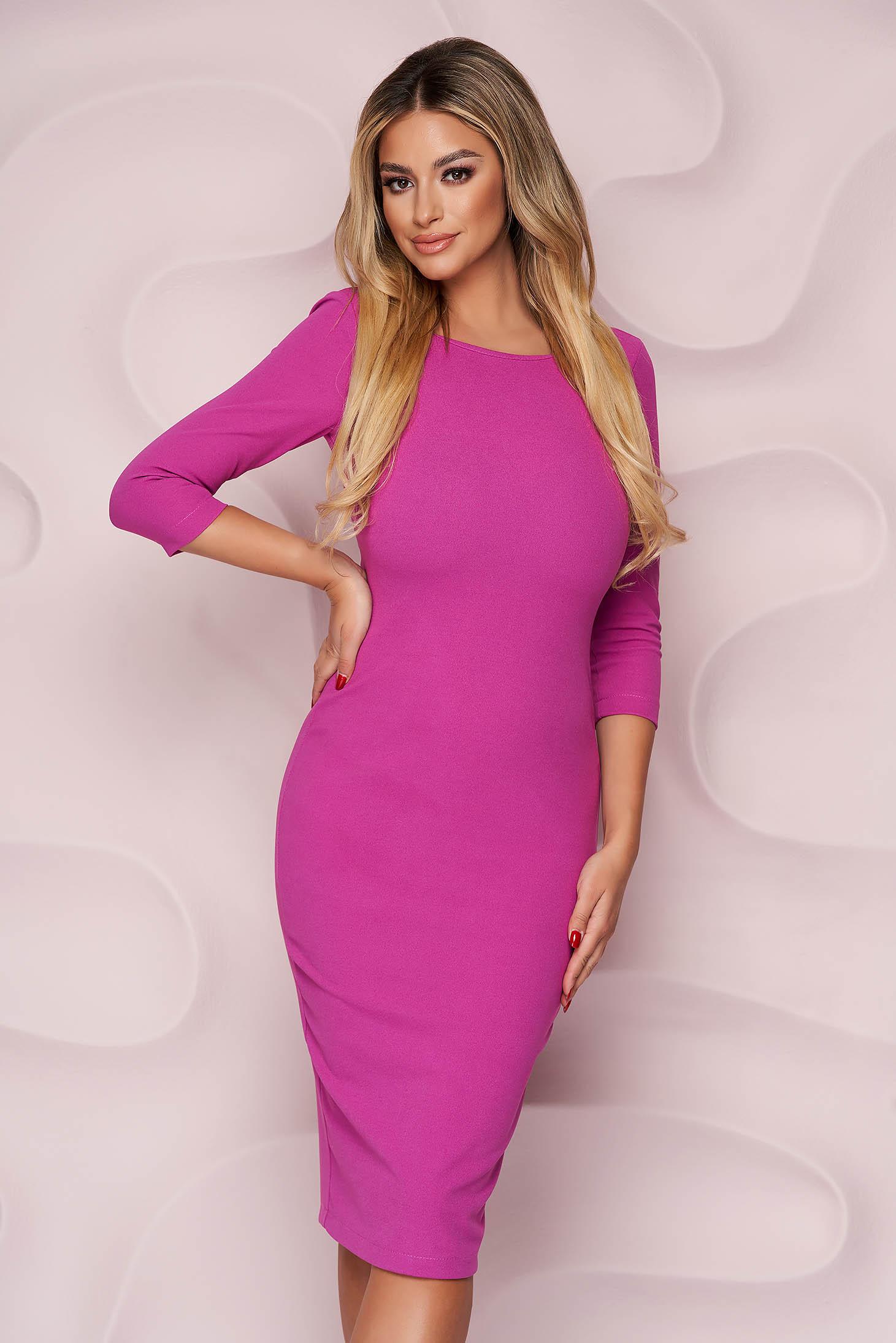 Dress elegant midi StarShinerS raspberry pencil bare back from elastic fabric