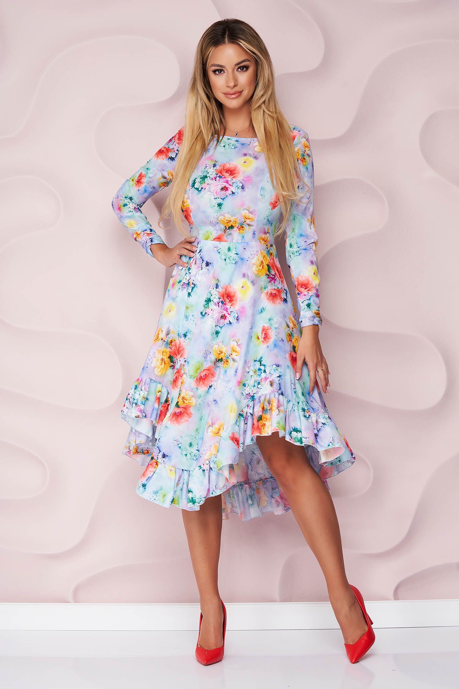 StarShinerS dress elegant asymmetrical cloche thin fabric with ruffles at the buttom of the dress