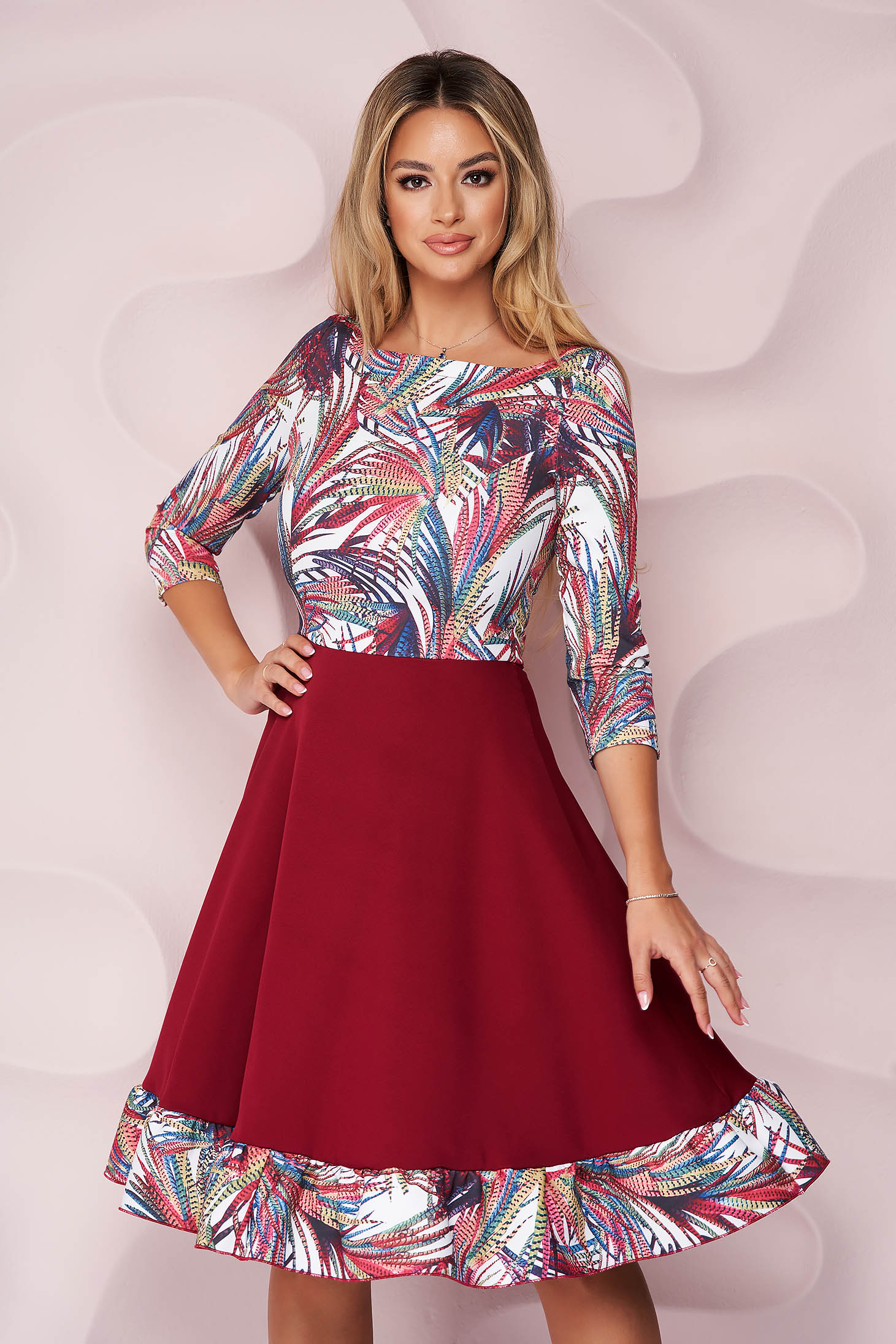 StarShinerS cloche dress with 3/4 sleeves from elastic fabric with floral print midi office
