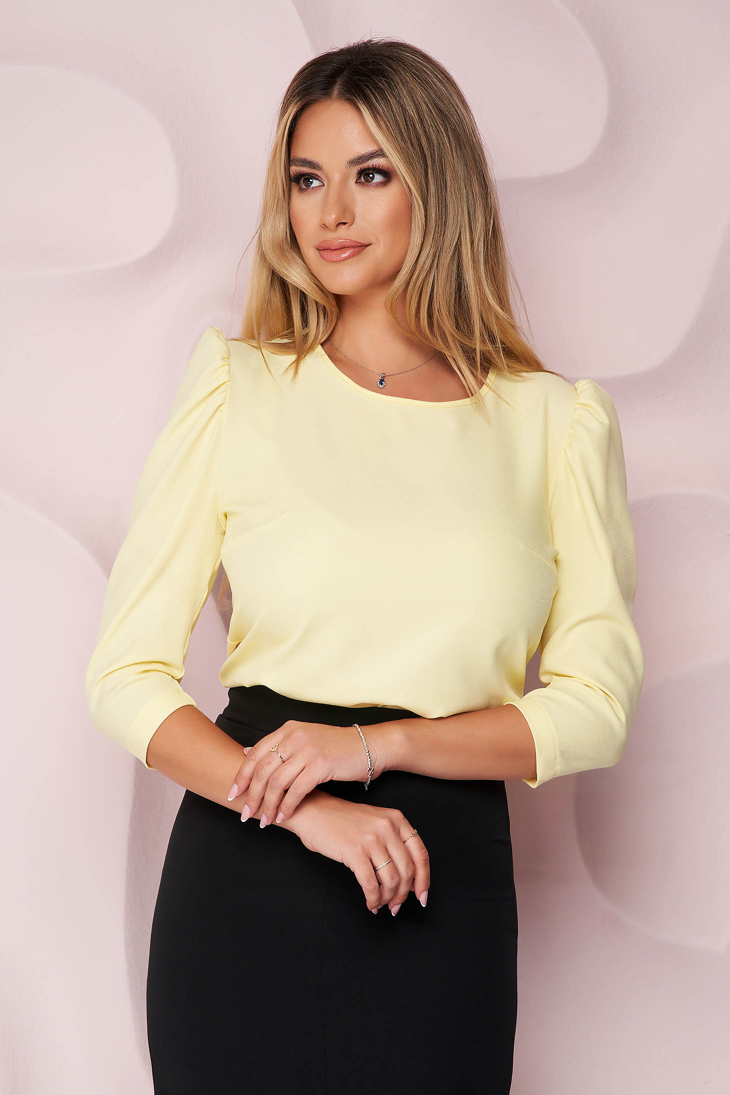 StarShinerS yellow women`s blouse with puffed sleeves with tented cut slightly elastic fabric office