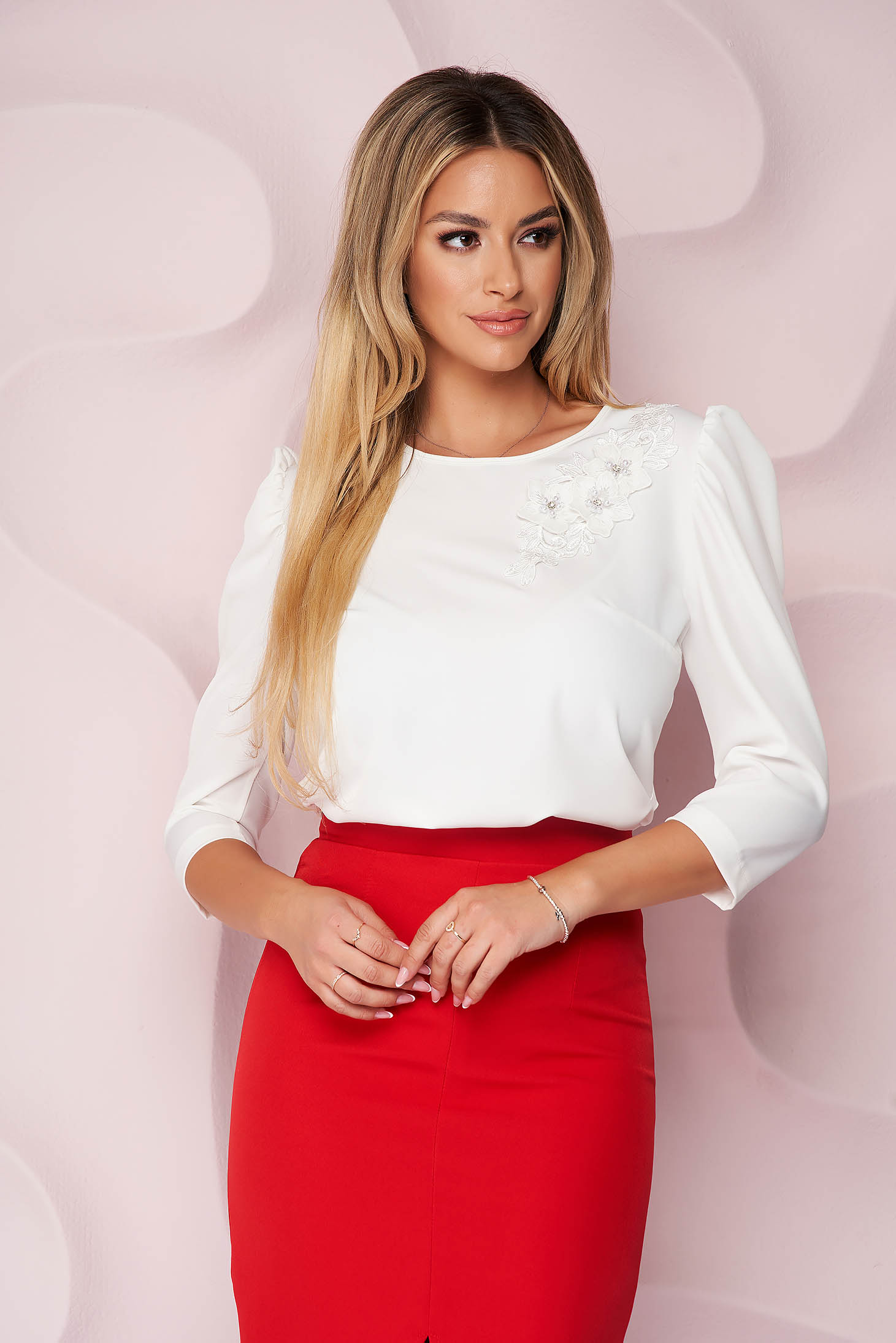 StarShinerS ivory women`s blouse loose fit office short cut with raised flowers nonelastic fabric light material