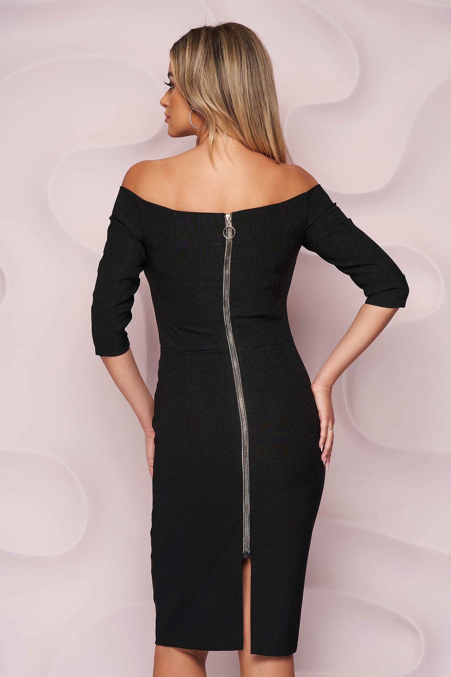 StarShinerS black dress midi pencil occasional with deep cleavage back zipper fastening slightly elastic fabric