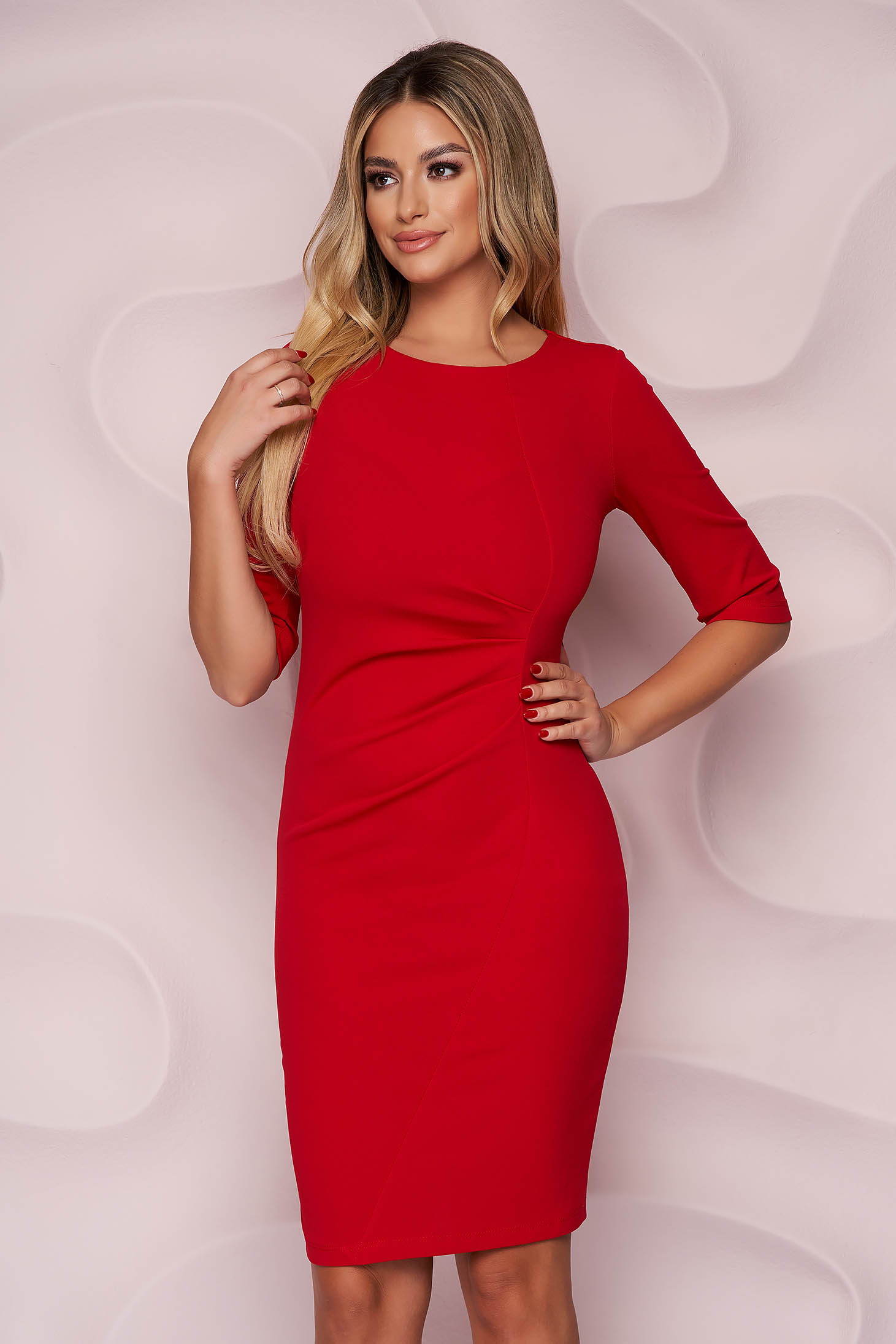 Red dress pencil midi office thin fabric from elastic fabric with 3/4 sleeves