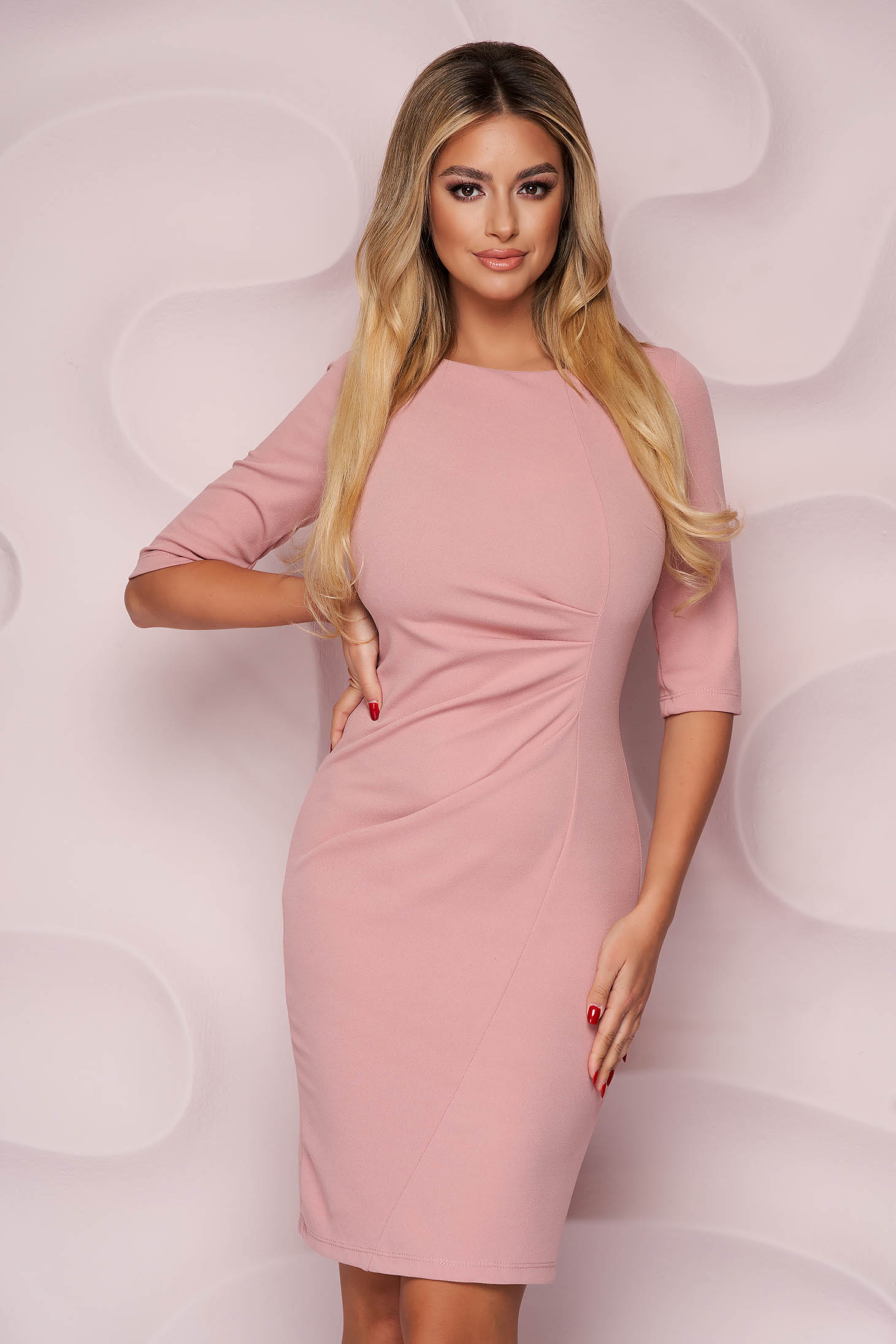 Lightpink dress pencil midi office thin fabric from elastic fabric with 3/4 sleeves