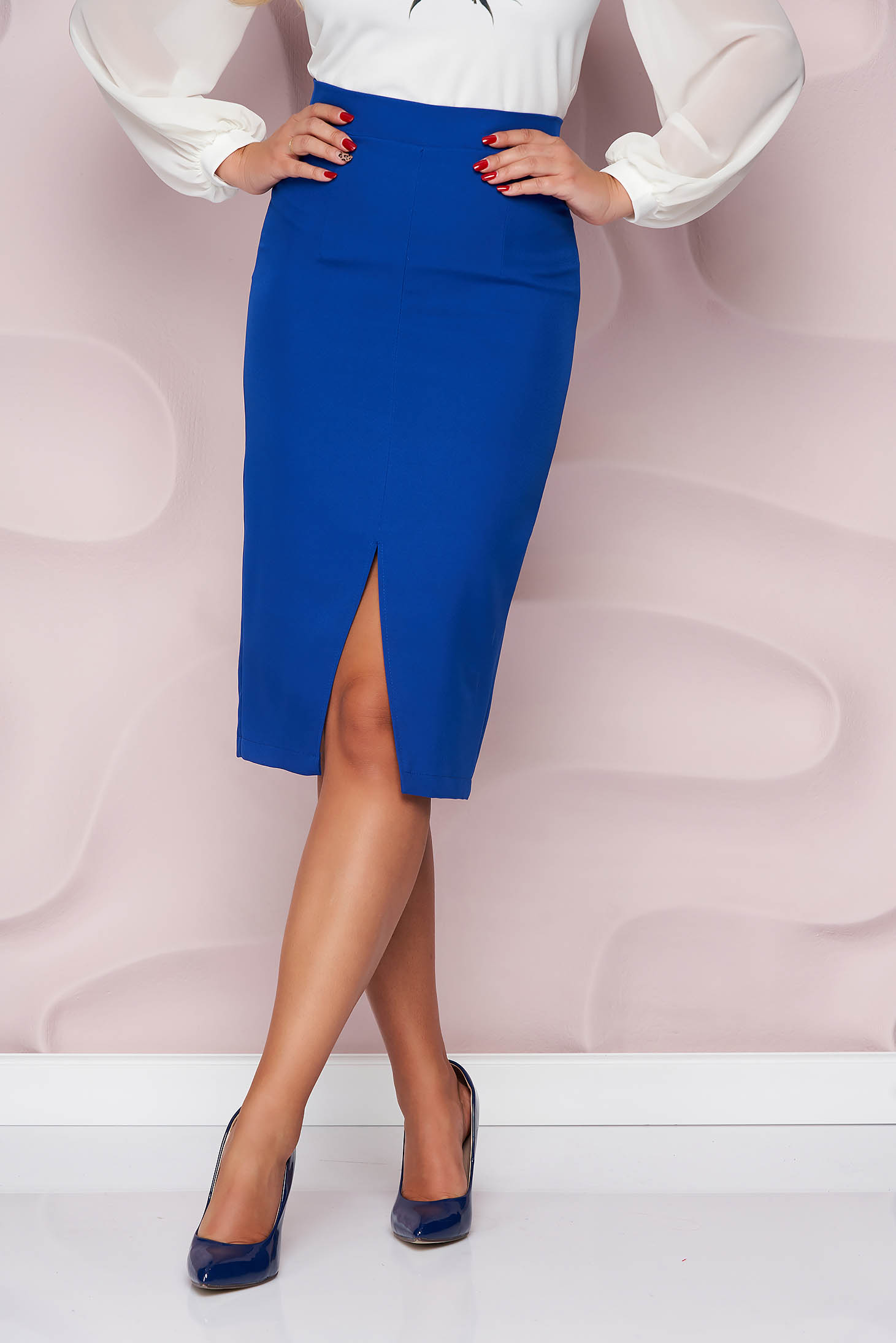 StarShinerS blue high waisted pencil skirt midi cloth frontal slit office