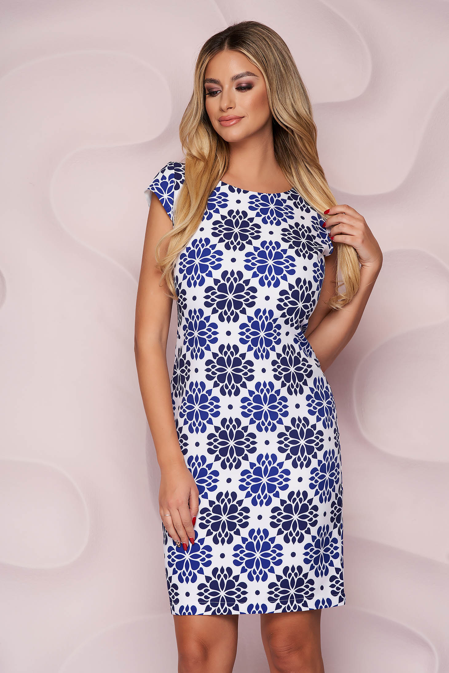 StarShinerS dress office straight thin fabric nonelastic fabric with floral print