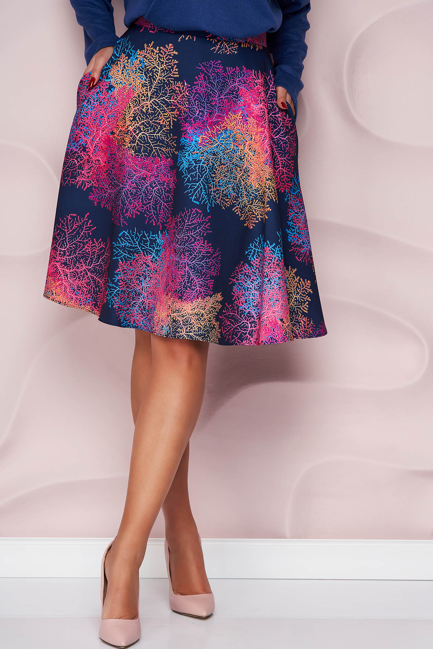 StarShinerS skirt thin fabric office cloche midi with floral print nonelastic fabric