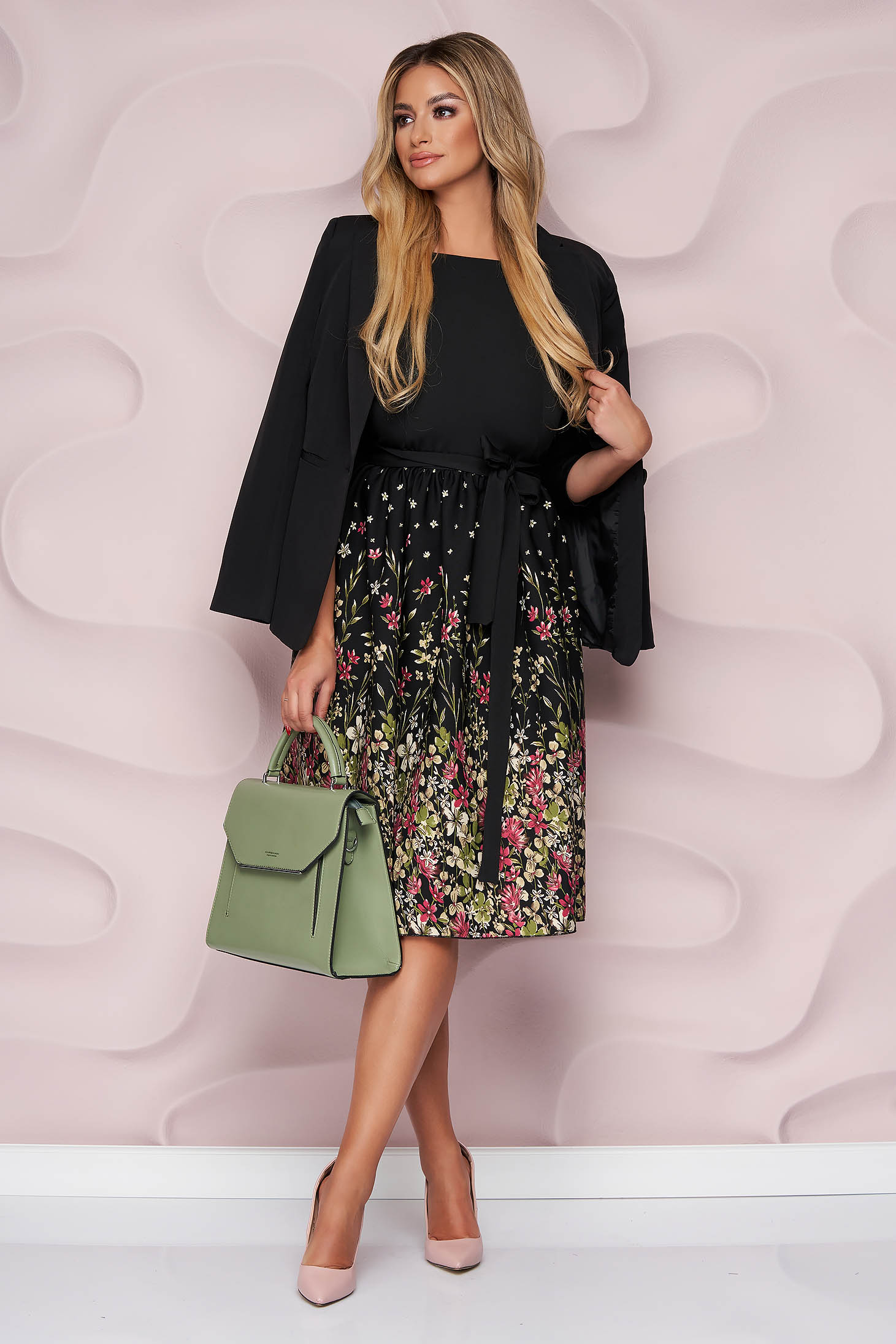 StarShinerS midi cloche dress with 3/4 sleeves accessorized with tied waistband office nonelastic fabric thin fabric