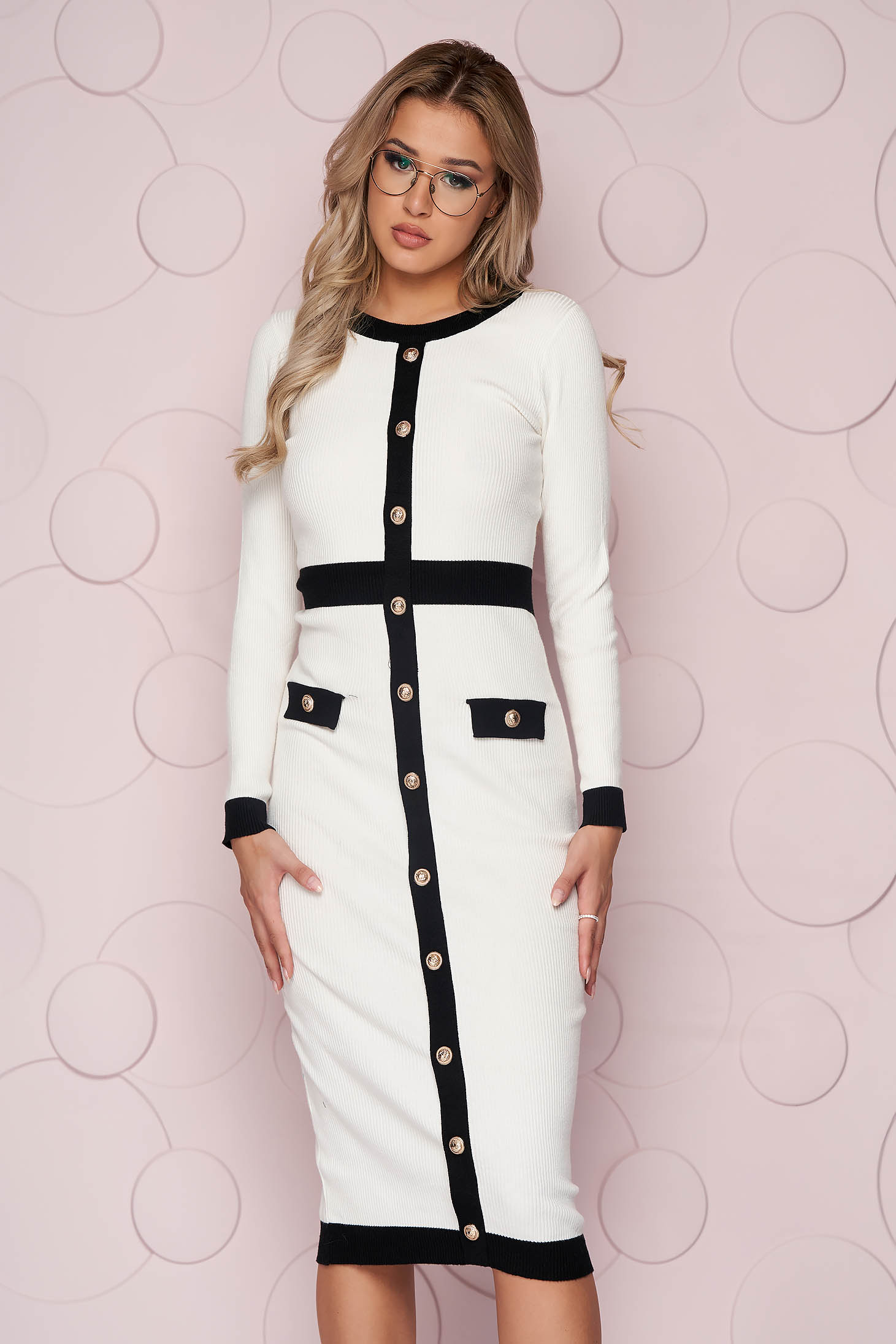 White dress with faux pockets pencil with button accessories knitted fabric midi
