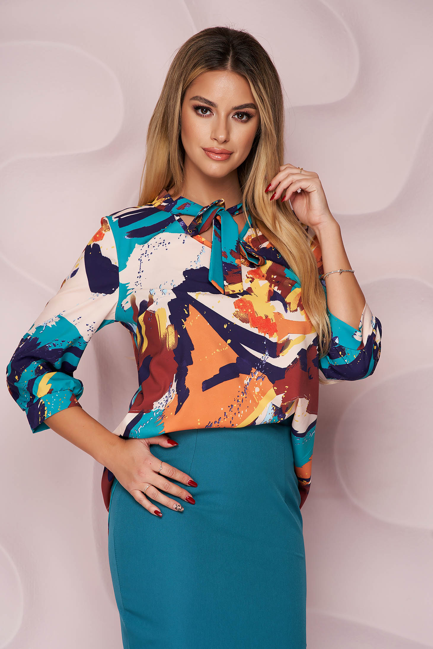 StarShinerS women`s blouse asymmetrical loose fit thin fabric office nonelastic fabric with floral print