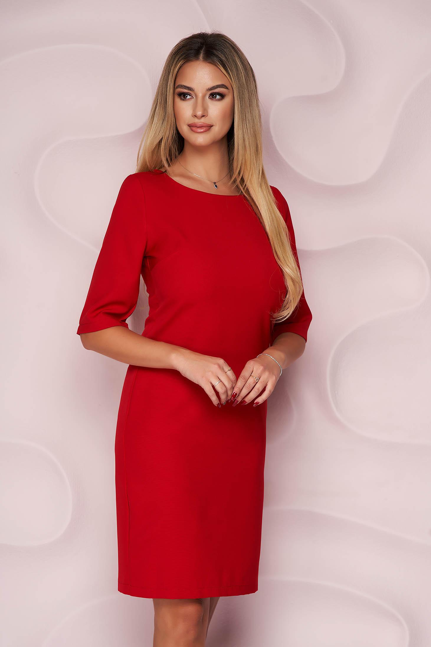 StarShinerS red dress office straight short cut slightly elastic fabric soft fabric