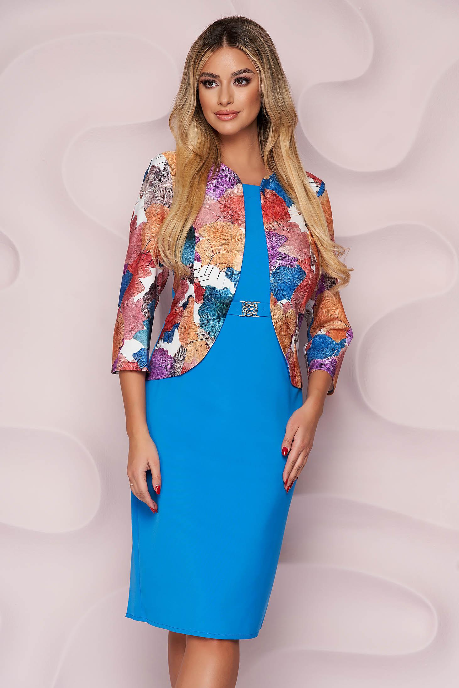 Blue dress elegant midi pencil from elastic fabric women`s blazer