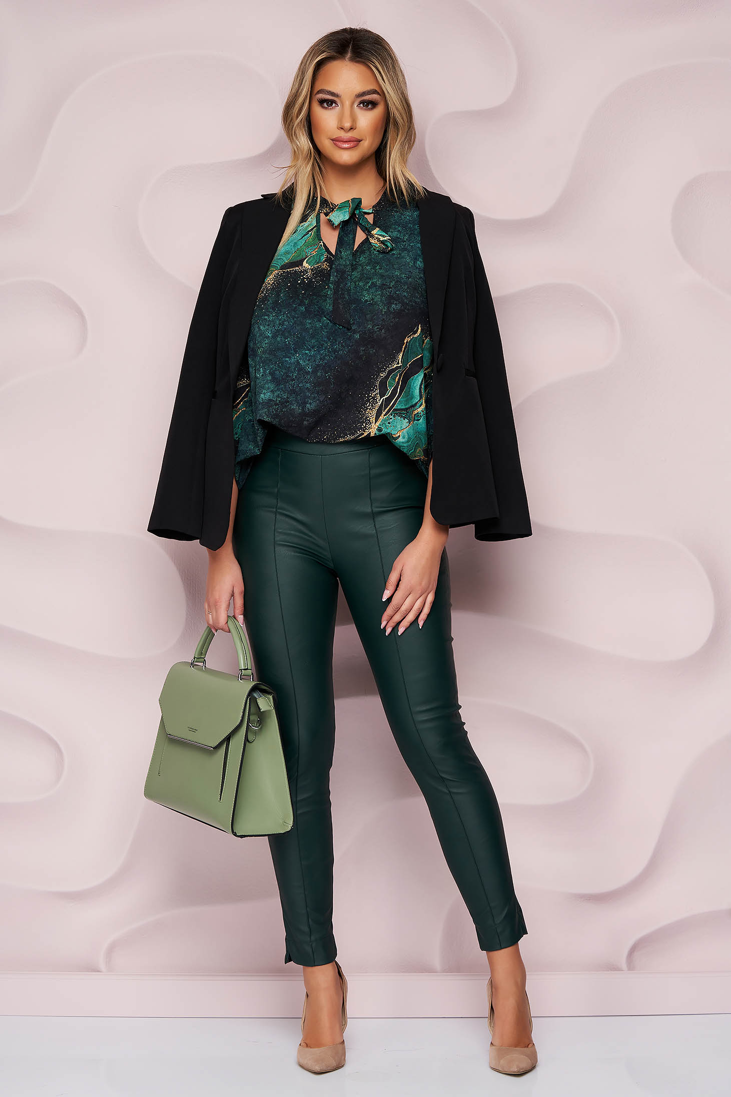 Casual darkgreen StarShinerS trousers from ecological leather with tented cut high waisted side zip fastening