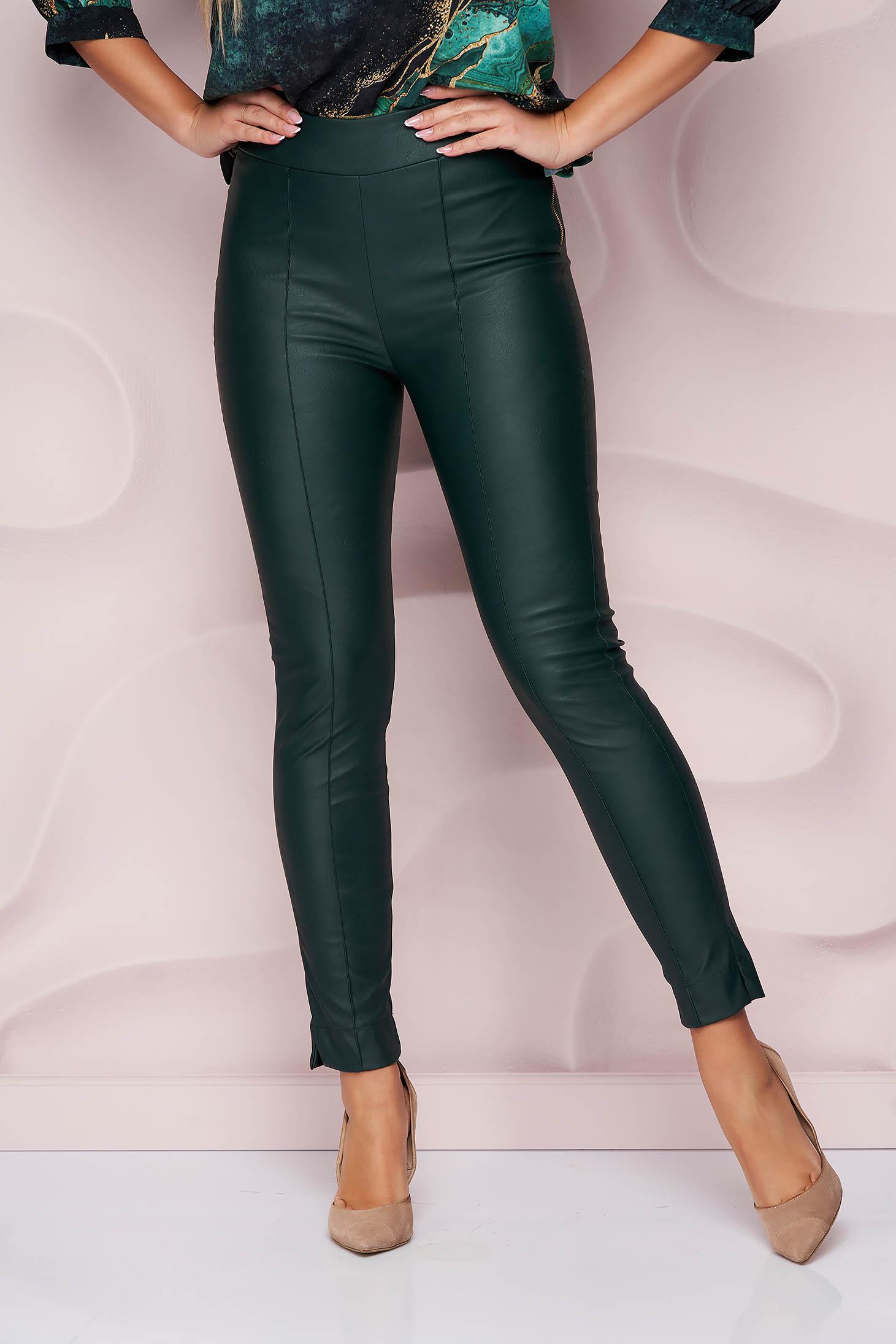 StarShinerS sötétzöld műbőr casual szűk szabású magas derekú oldalt cipzárral zárható nadrág
