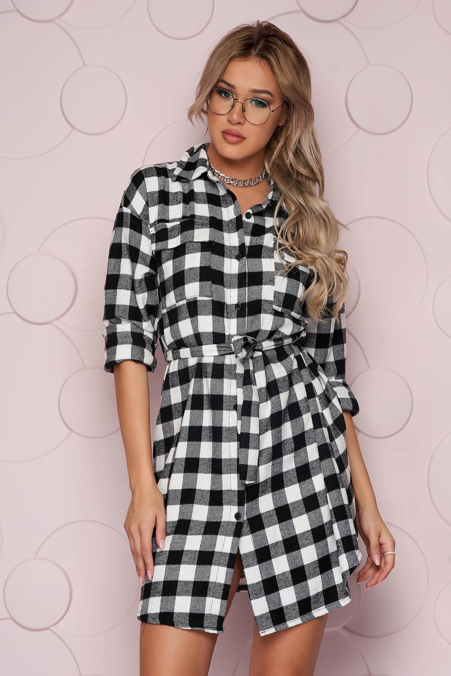 Black women`s shirt loose fit long nonelastic fabric soft fabric detachable cord