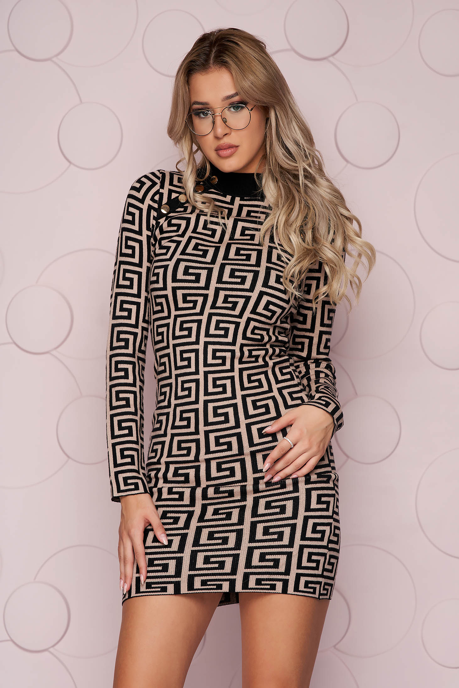 Brown dress thin fabric short cut knitted fabric from elastic fabric with button accessories with tented cut