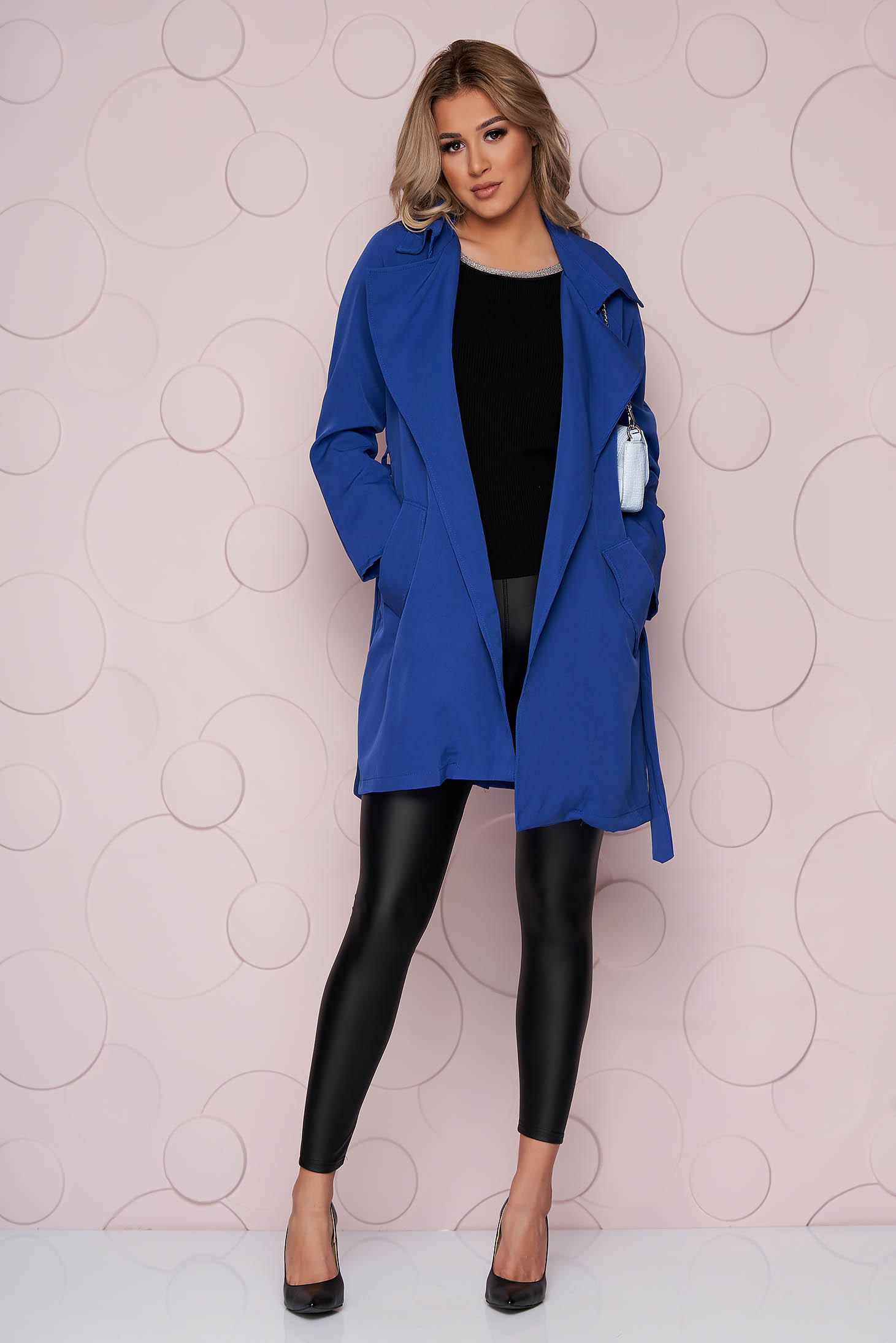 Blue trenchcoat straight nonelastic fabric long detachable cord light material