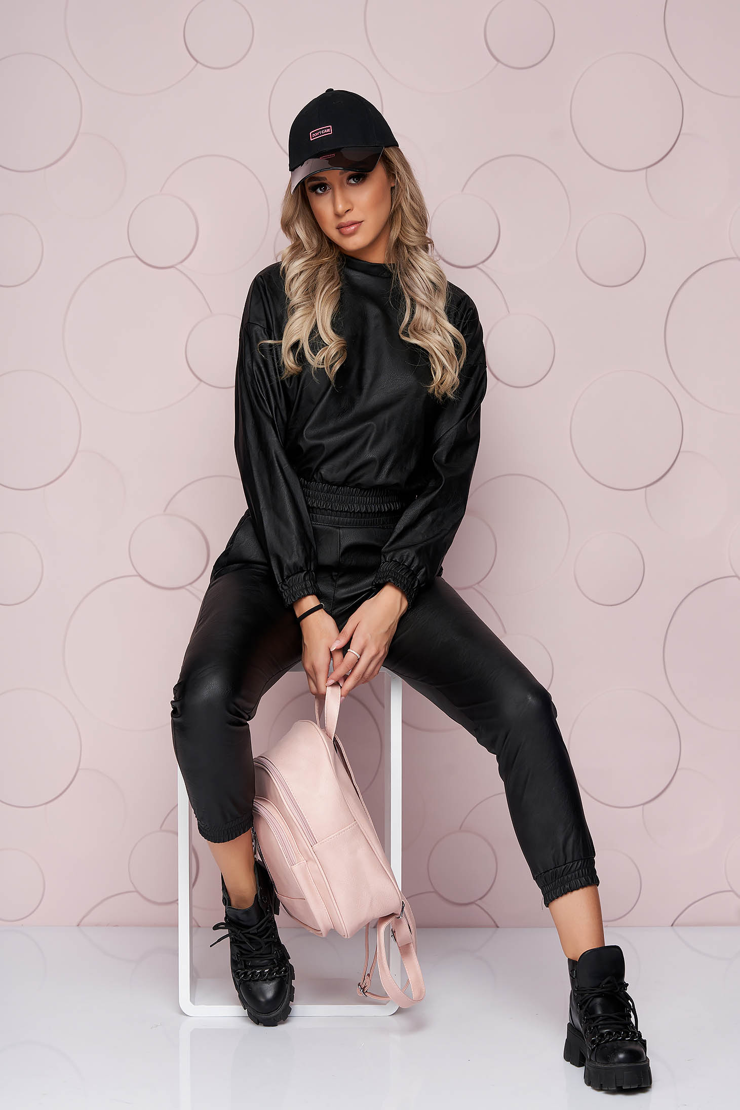 Black lady set thin fabric ecological leather from elastic fabric lateral pockets with easy cut low waist