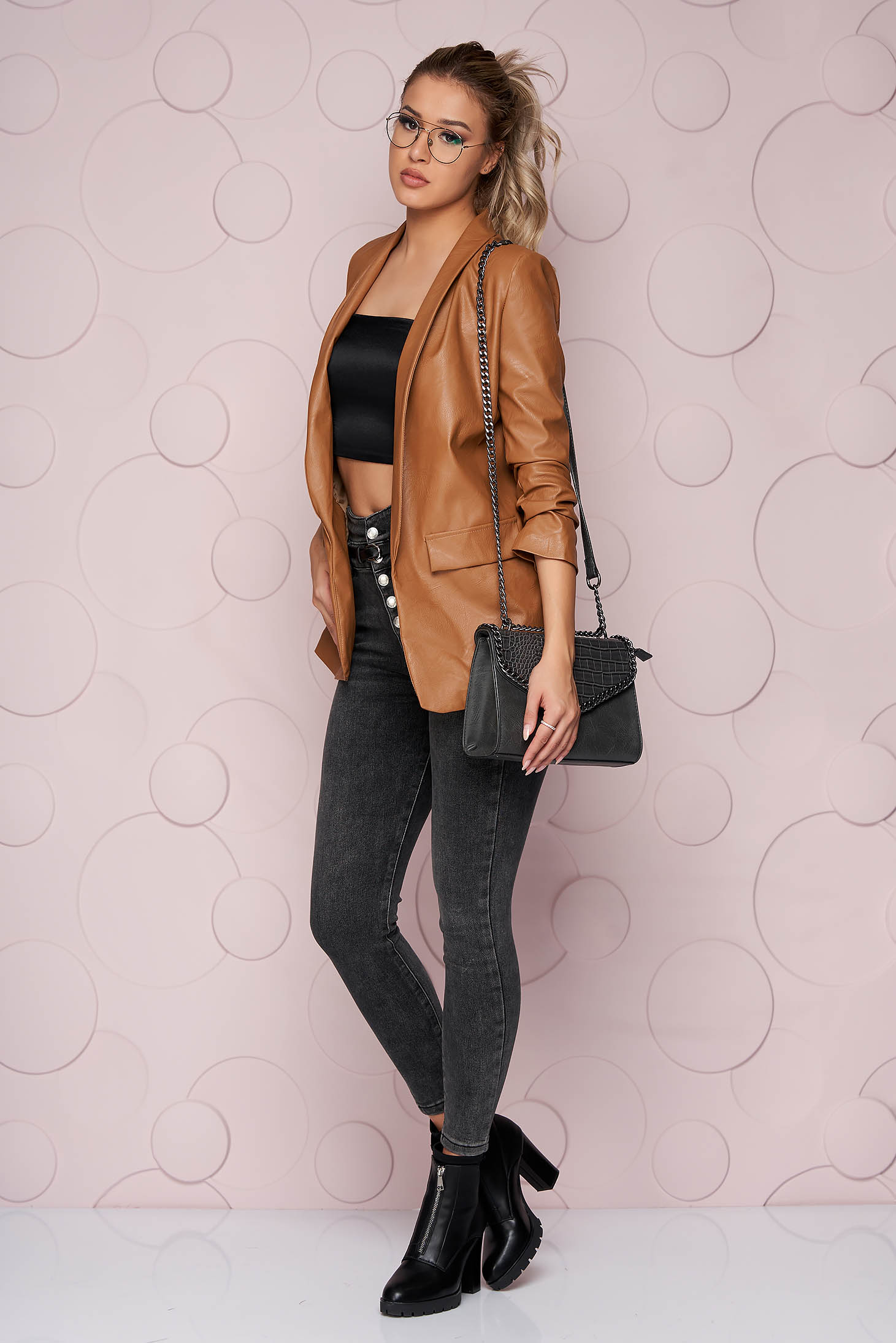 Brown jacket straight ecological leather thin fabric from elastic fabric with faux pockets