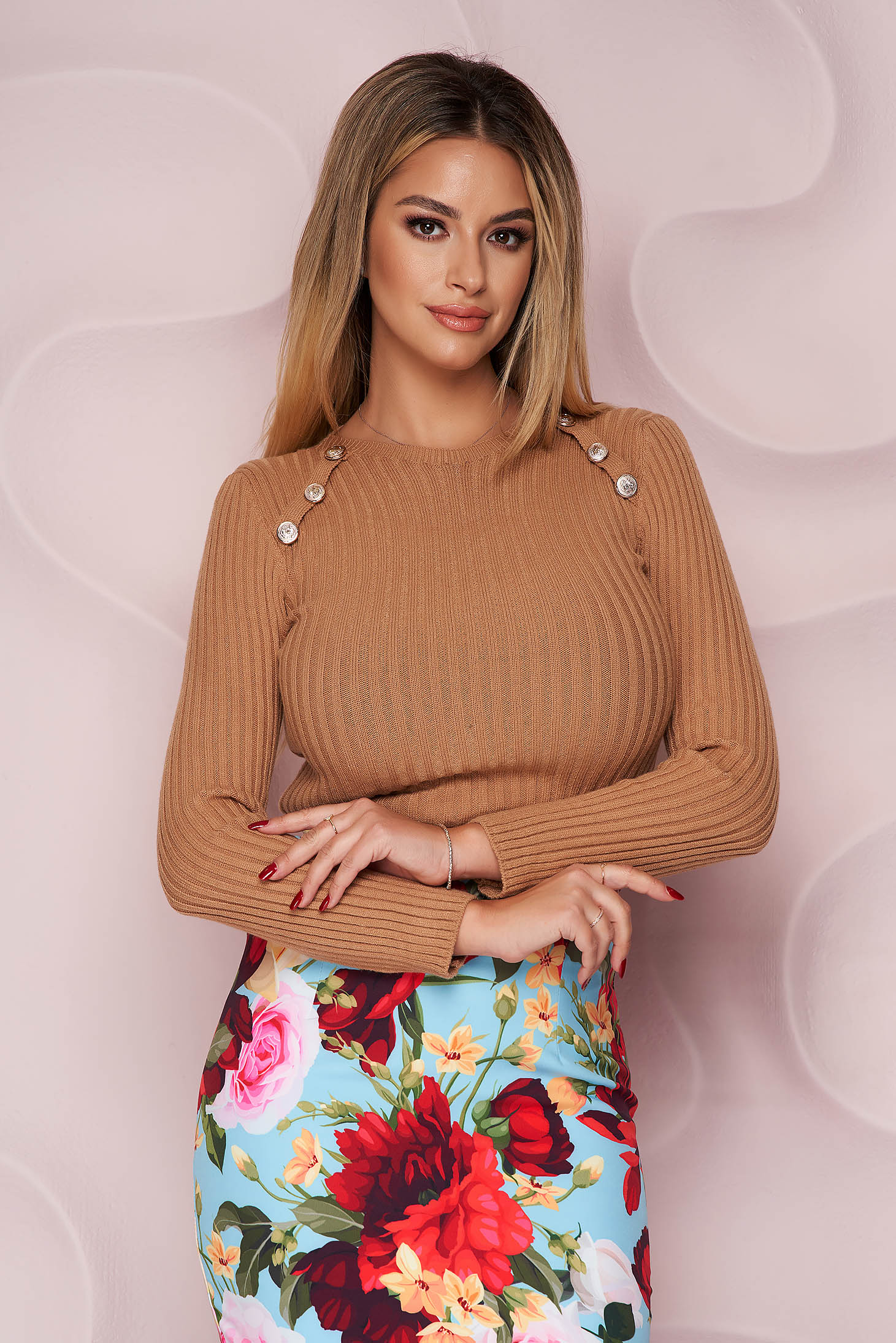 Brown sweater from striped fabric with tented cut soft fabric with button accessories knitted fabric