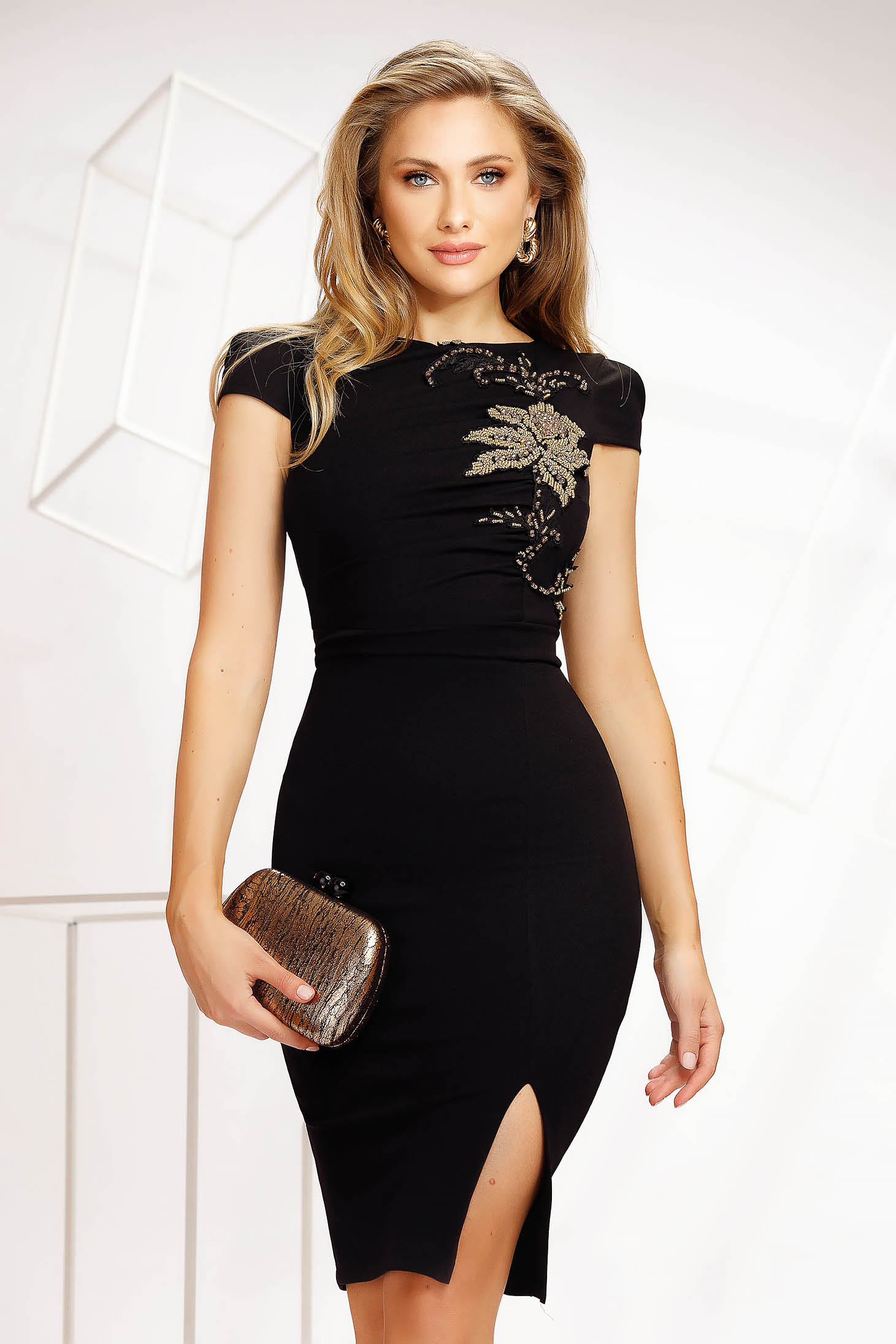Black dress occasional short cut pencil thin fabric from elastic fabric with crystal embellished details