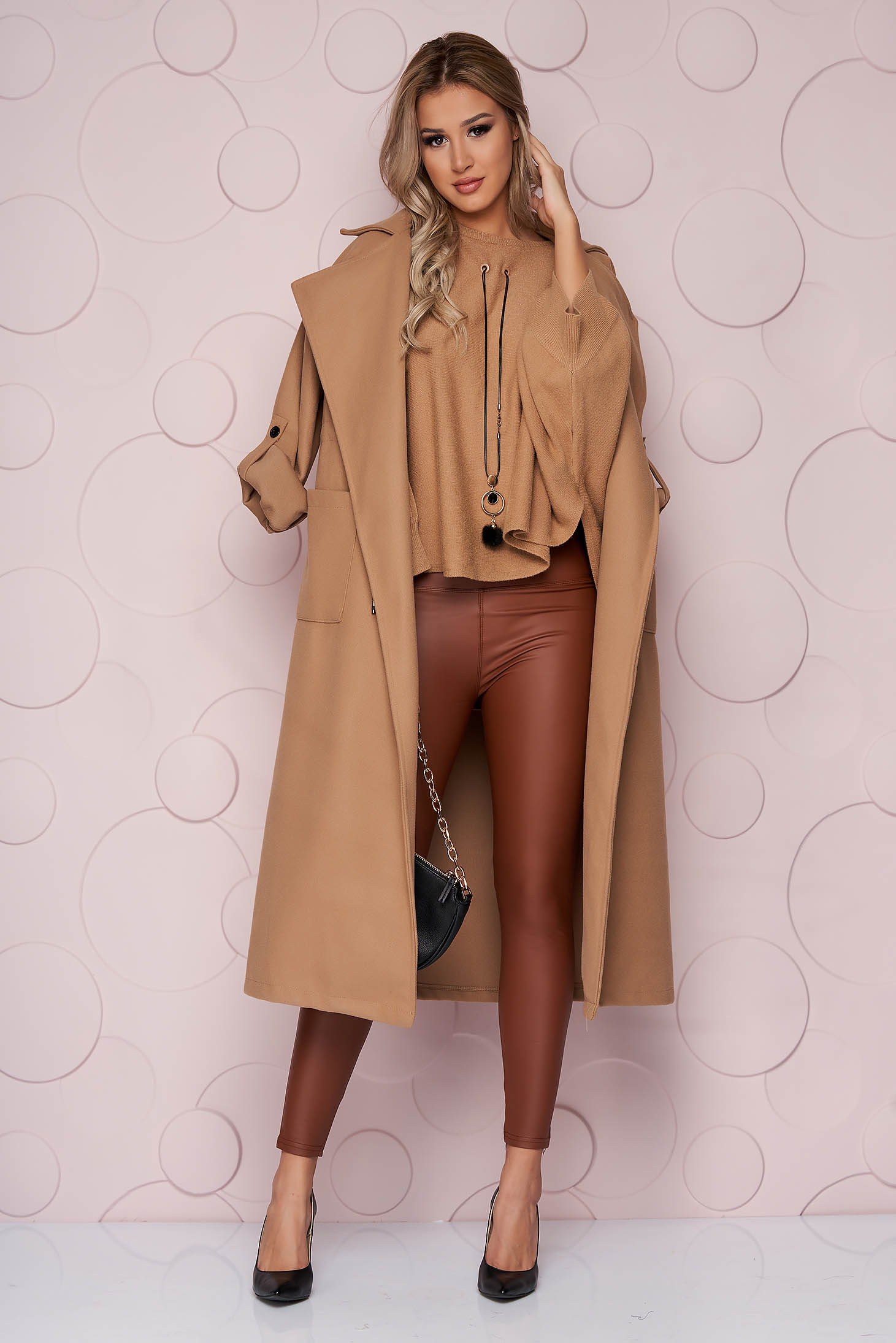 Brown tights casual from ecological leather high waisted with tented cut