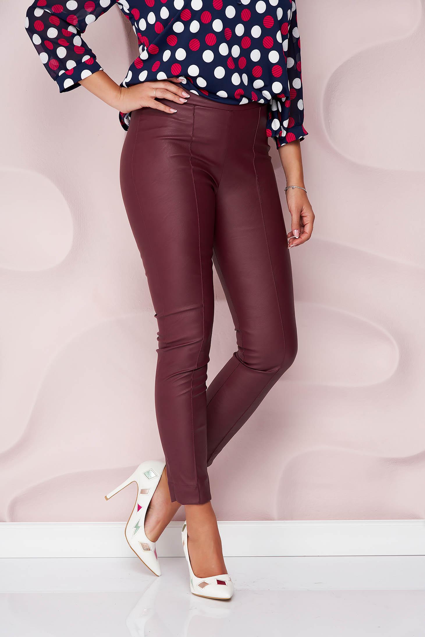 Pantaloni StarShinerS visinii casual cu un croi mulat din piele ecologica cu talie inalta si fermoar in lateral