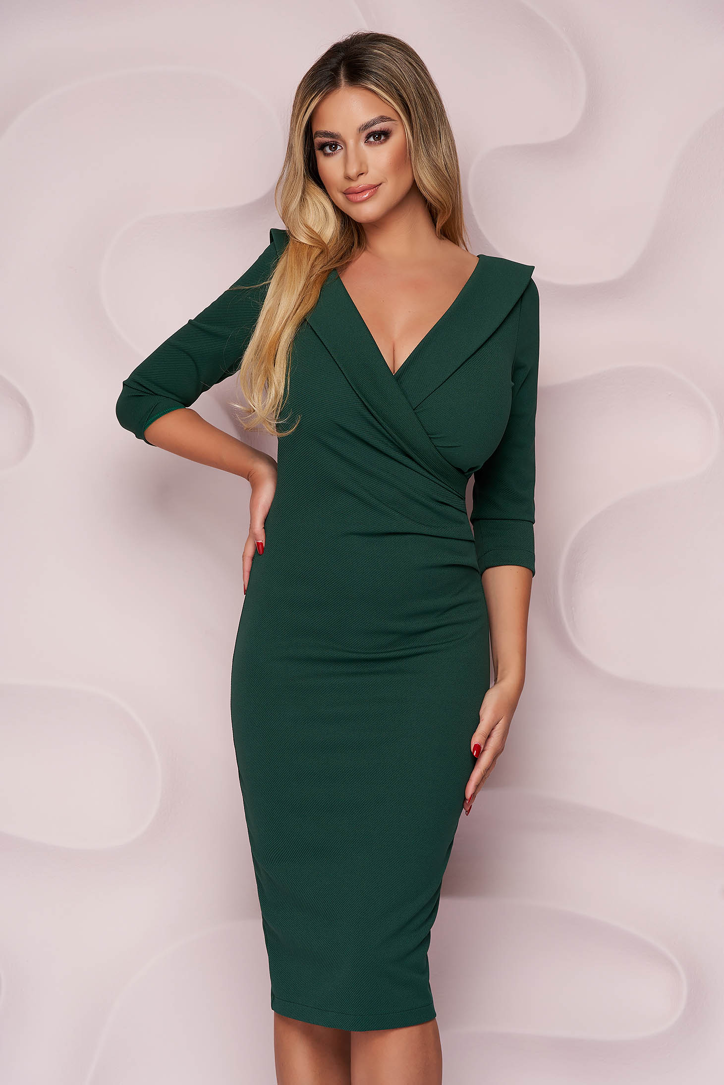StarShinerS green dress office midi pencil from elastic fabric wrap over front